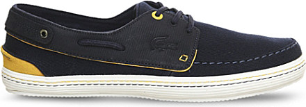 ce095f408 Lacoste Sumac Leather And Canvas Boat Shoes in Yellow for Men - Lyst