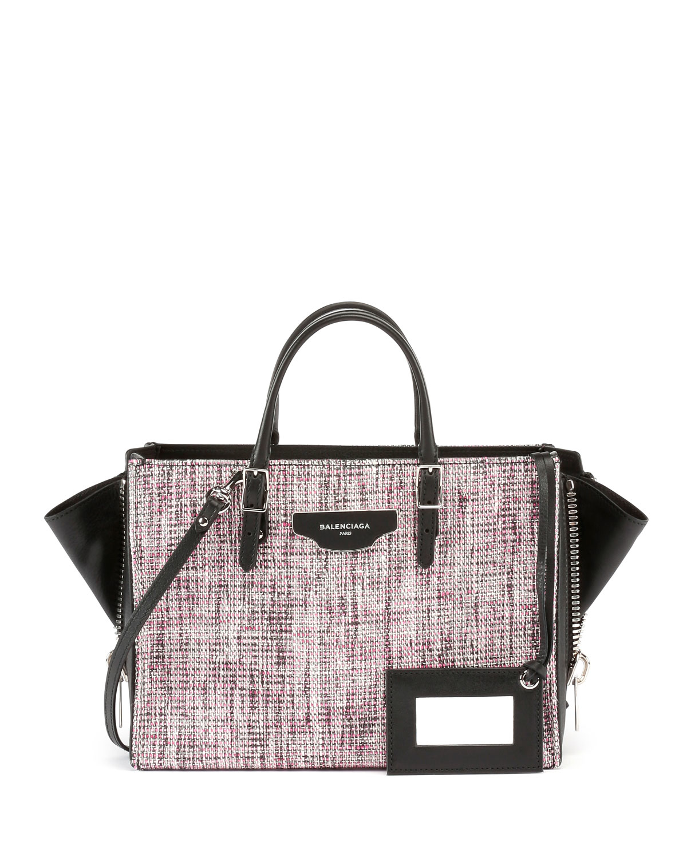 d5f807bcae6 Lyst - Balenciaga Paper Zip-around Plate Tweed Tote Bag W strap in Pink
