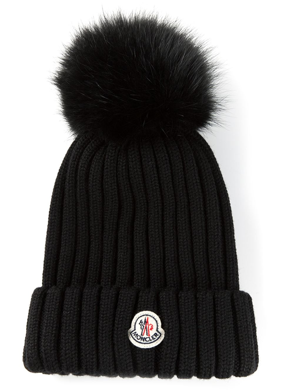 6ce54512fe3 Moncler Bobble Top Beanie in Black - Lyst