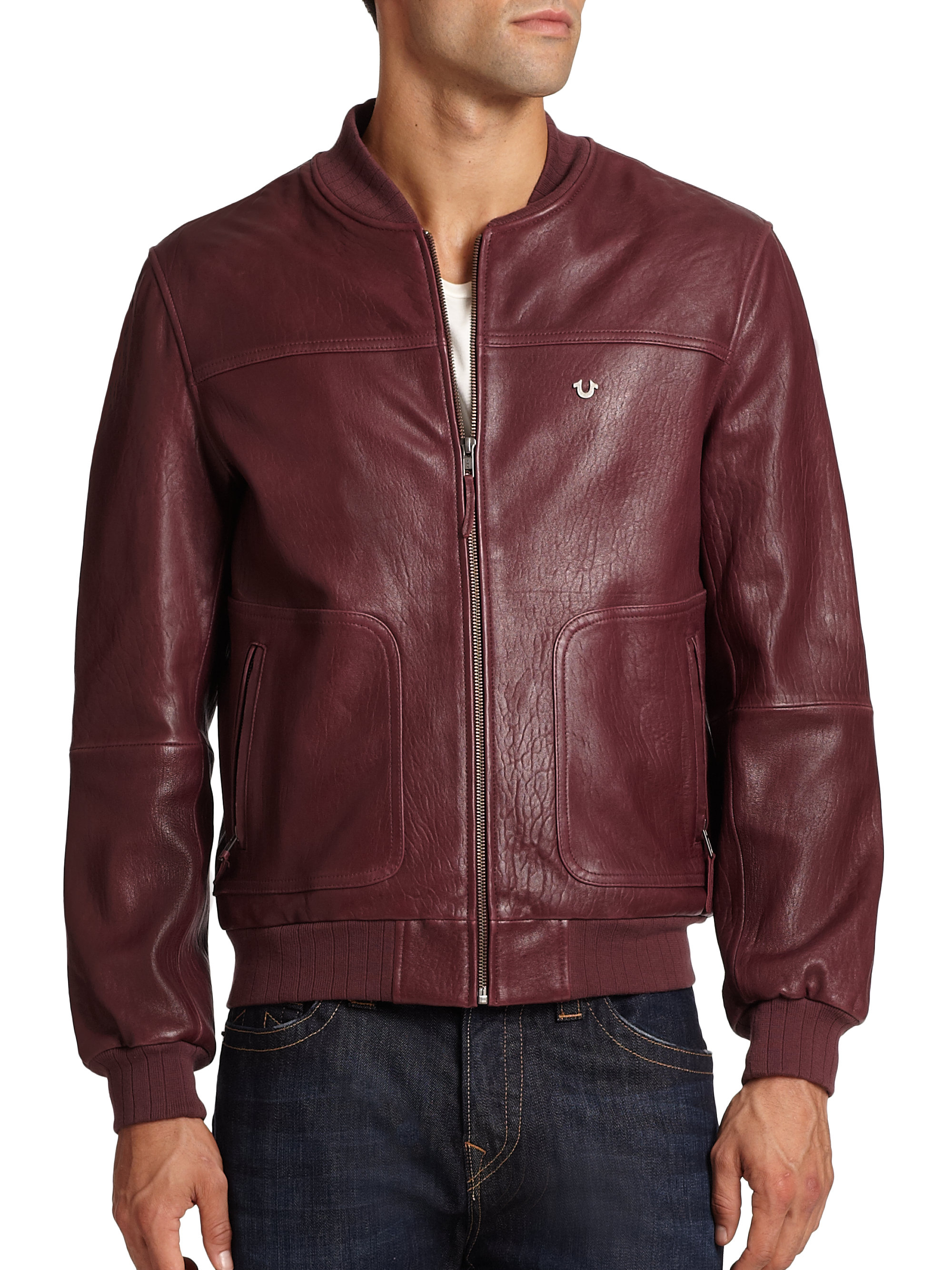 true religion leather baseball jacket in red for men lyst. Black Bedroom Furniture Sets. Home Design Ideas