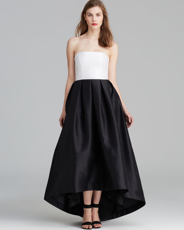 Lyst Ml Monique Lhuillier Dress Color Block Highlow In Black