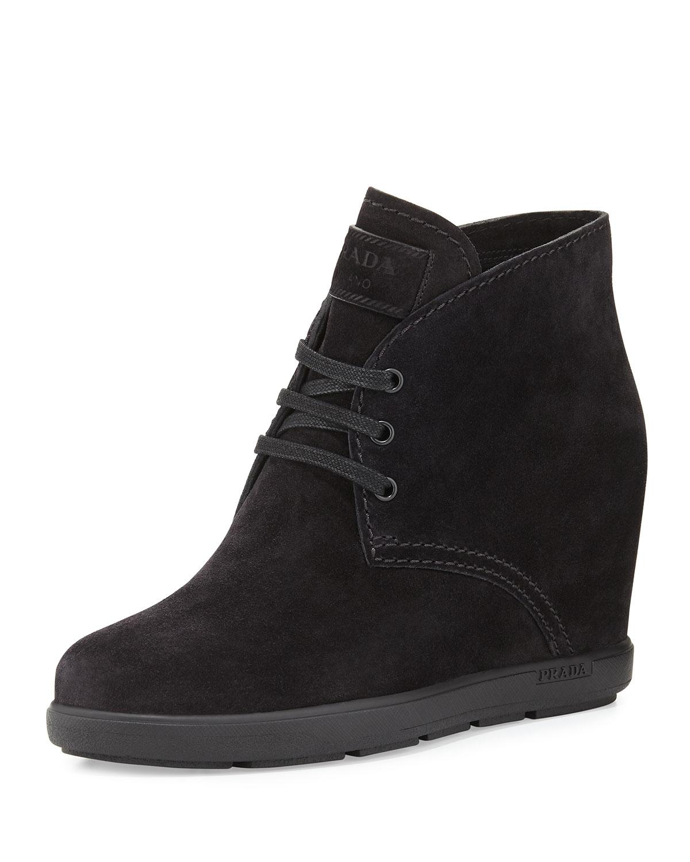 prada suede wedge desert boot in black lyst