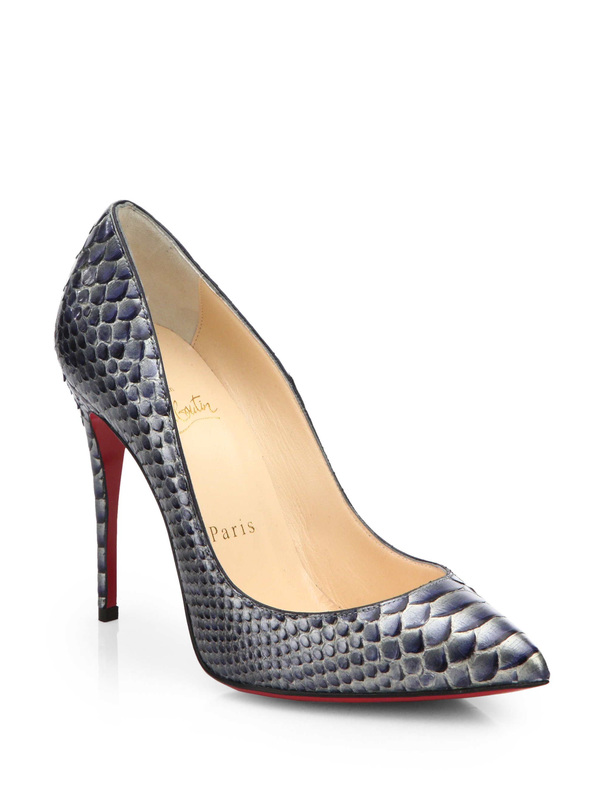 Christian louboutin Pigalle Follies Snakeskin Pumps in Animal (No ...
