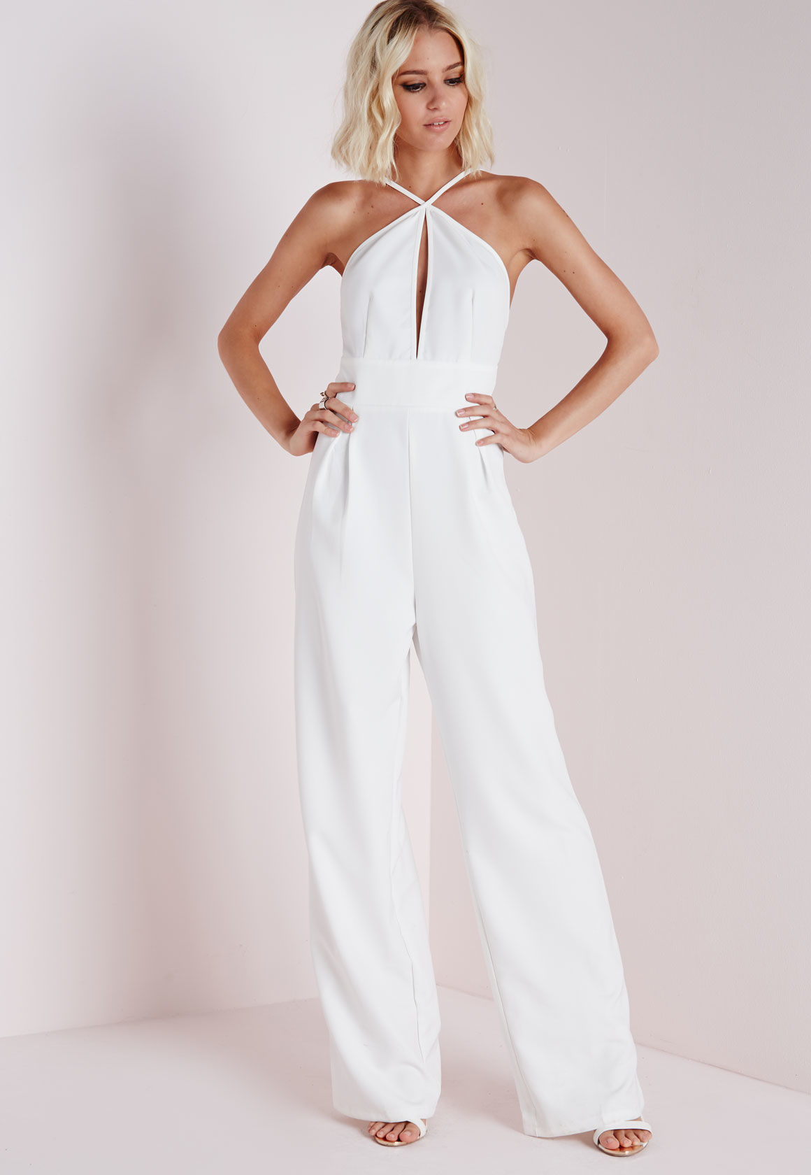 0dad8e4889 Missguided Keyhole Wide Leg Jumpsuit White in White - Lyst