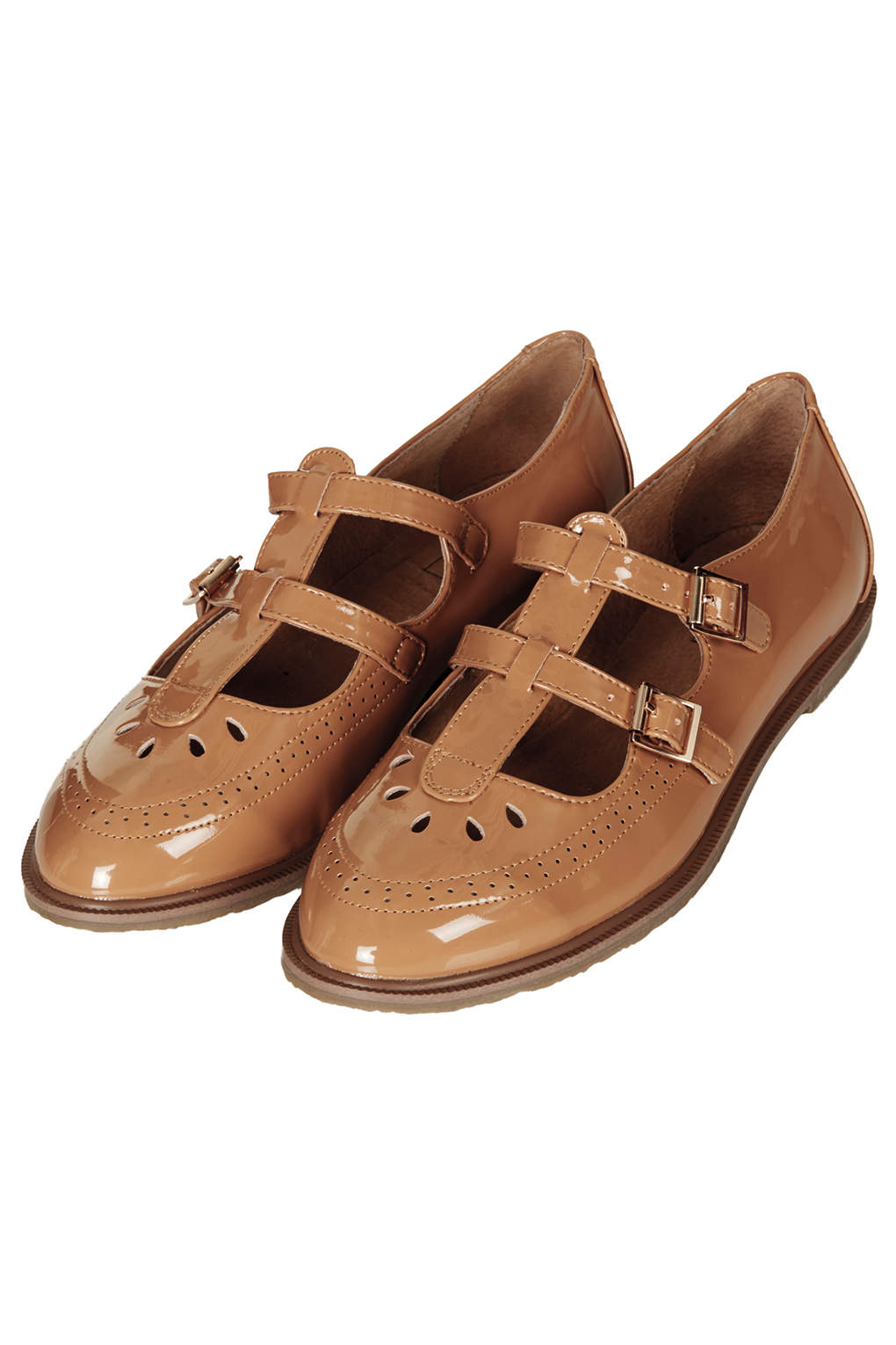 Topshop Margate Double Buckle Geek Shoes In Brown Lyst