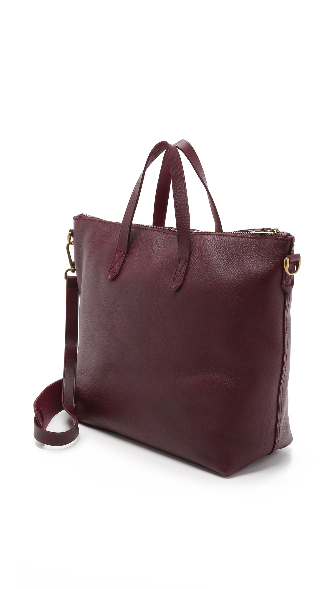 1528f6131a5d Lyst - Madewell The Zip Transport Tote - Dark Cabernet in Red