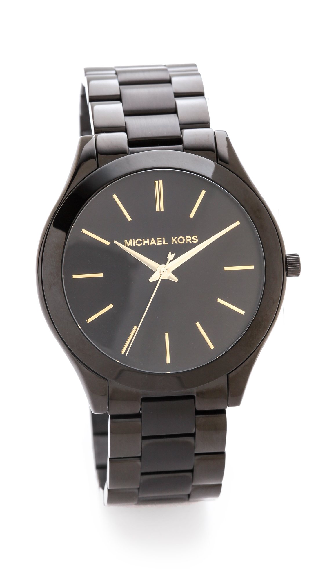 Michael kors slim runway watch in black lyst for Watches michael kors