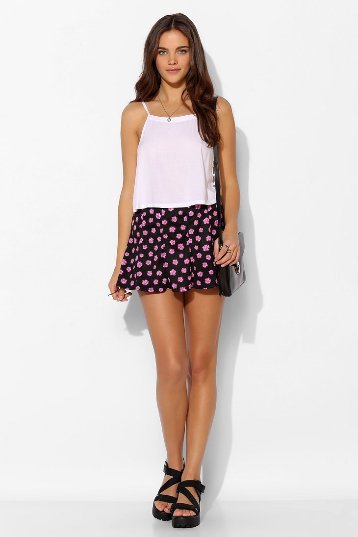 Pins and needles pane knit circle skirt in pink lyst gallery bankloansurffo Image collections