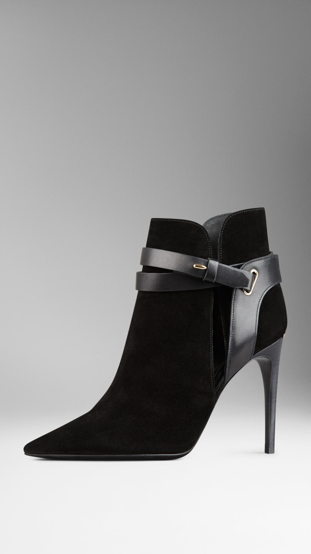 Lyst Burberry Cutaway Detail Belted Suede Ankle Boots In