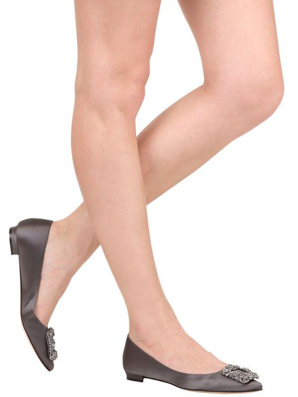 manolo blahnik red satin flat shoes