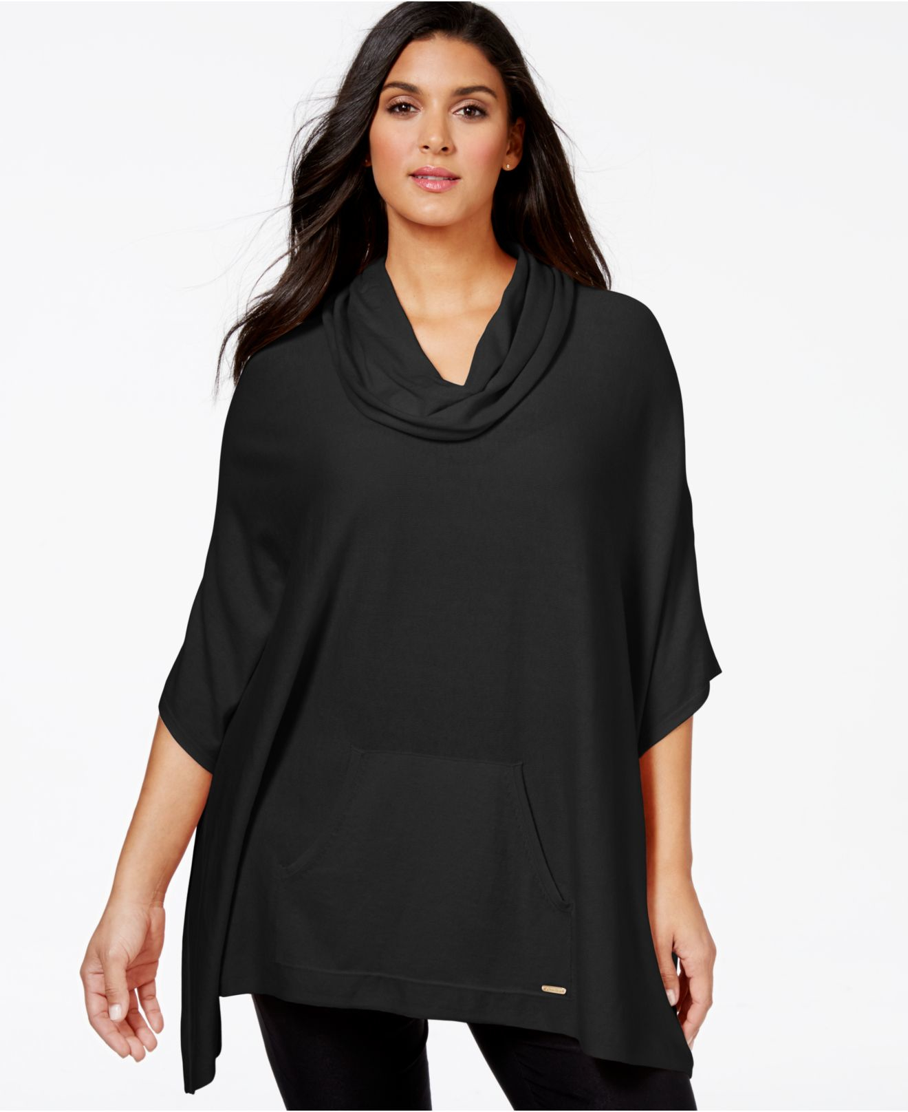 Calvin klein Plus Size Cowl-neck Poncho Sweater in Black | Lyst
