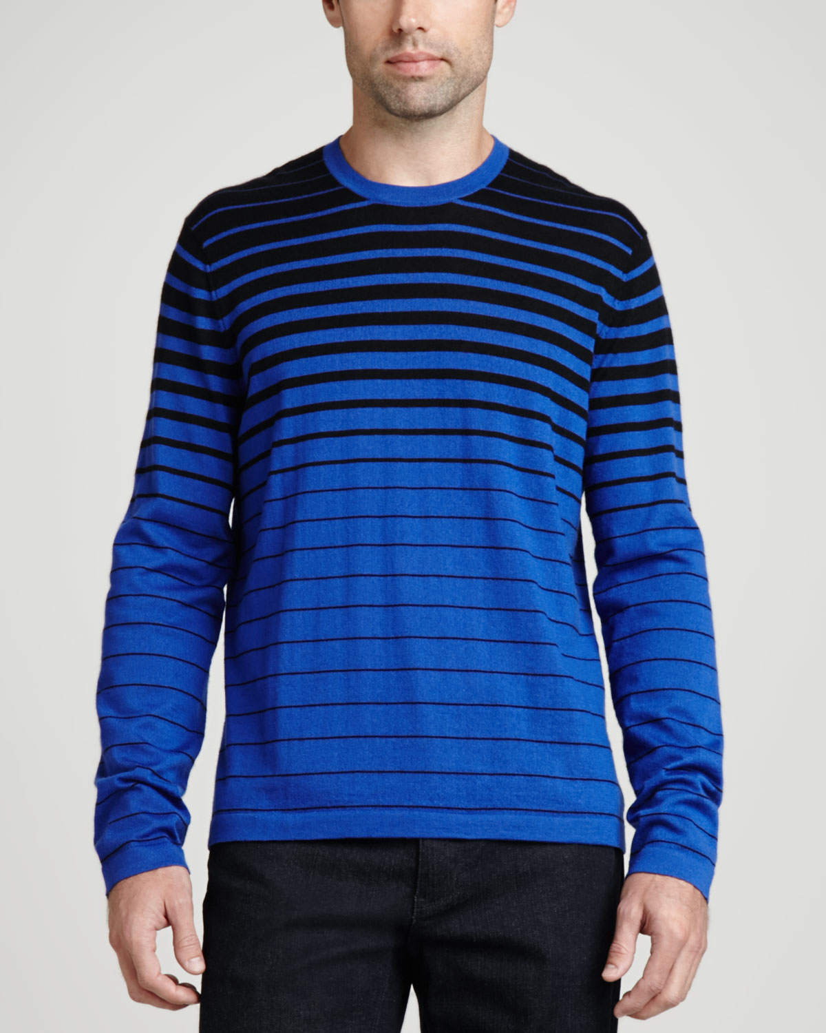 Neiman marcus Superfine Cashmere Striped Sweater in Blue for Men ...