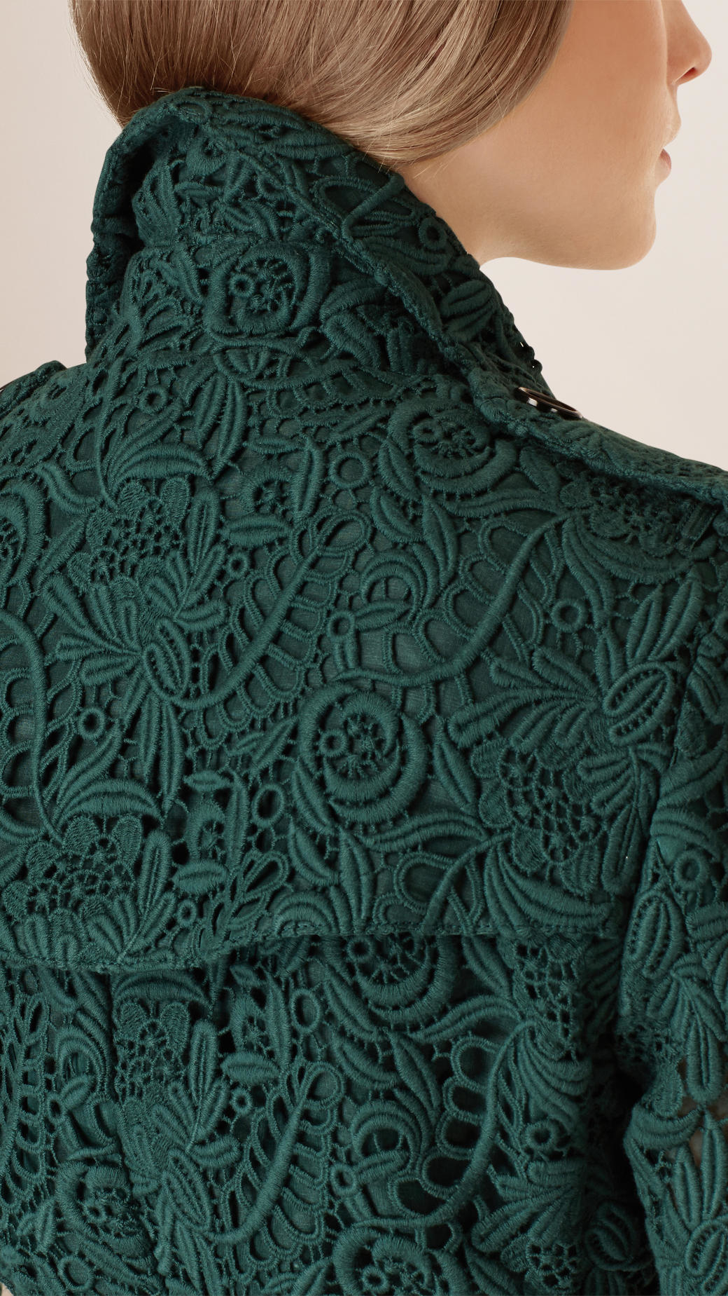 Lyst Burberry Macram 233 Lace Trench Coat In Green