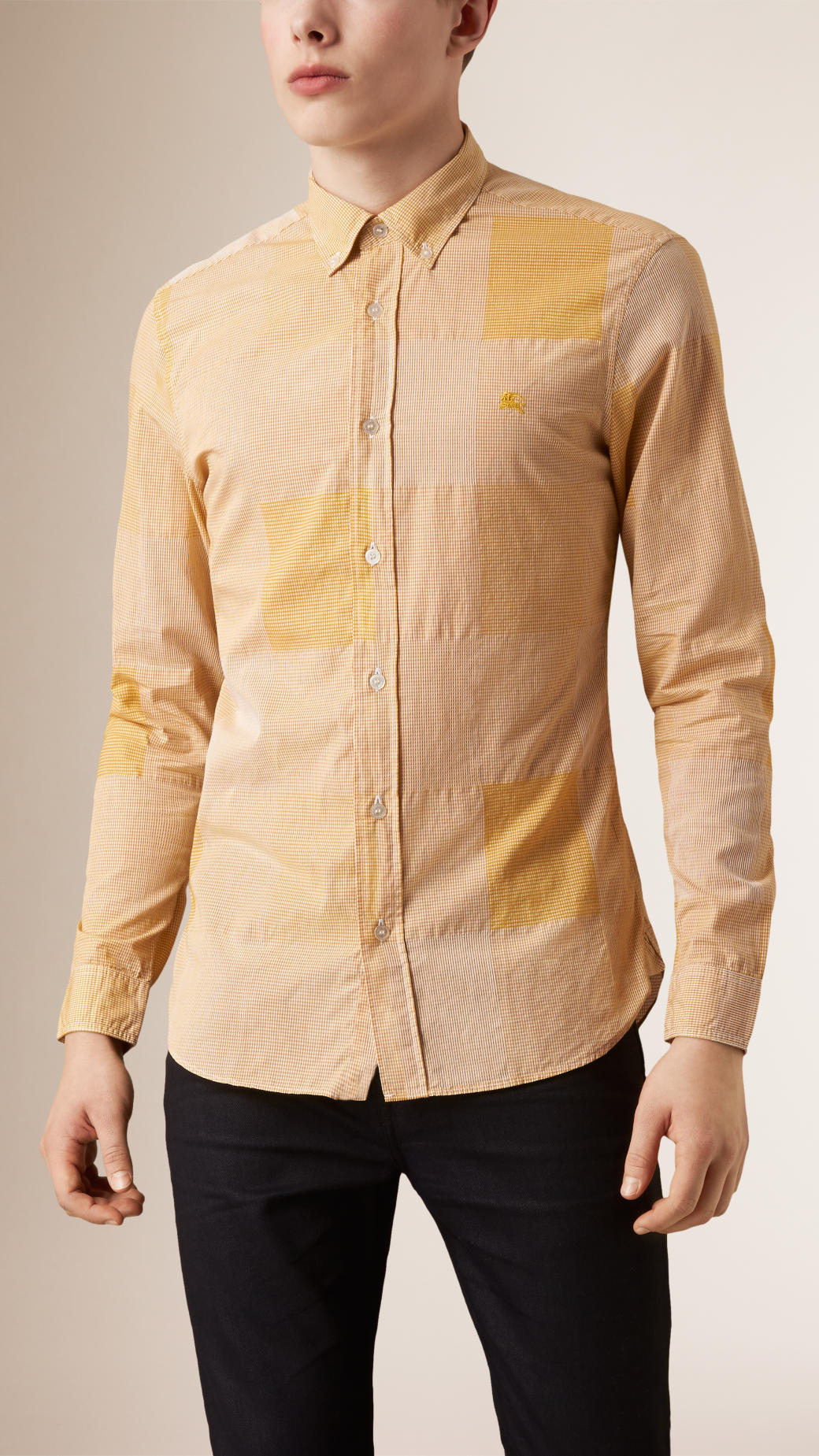 Burberry slim fit cotton gingham jacquard shirt in yellow for Mens yellow gingham shirt