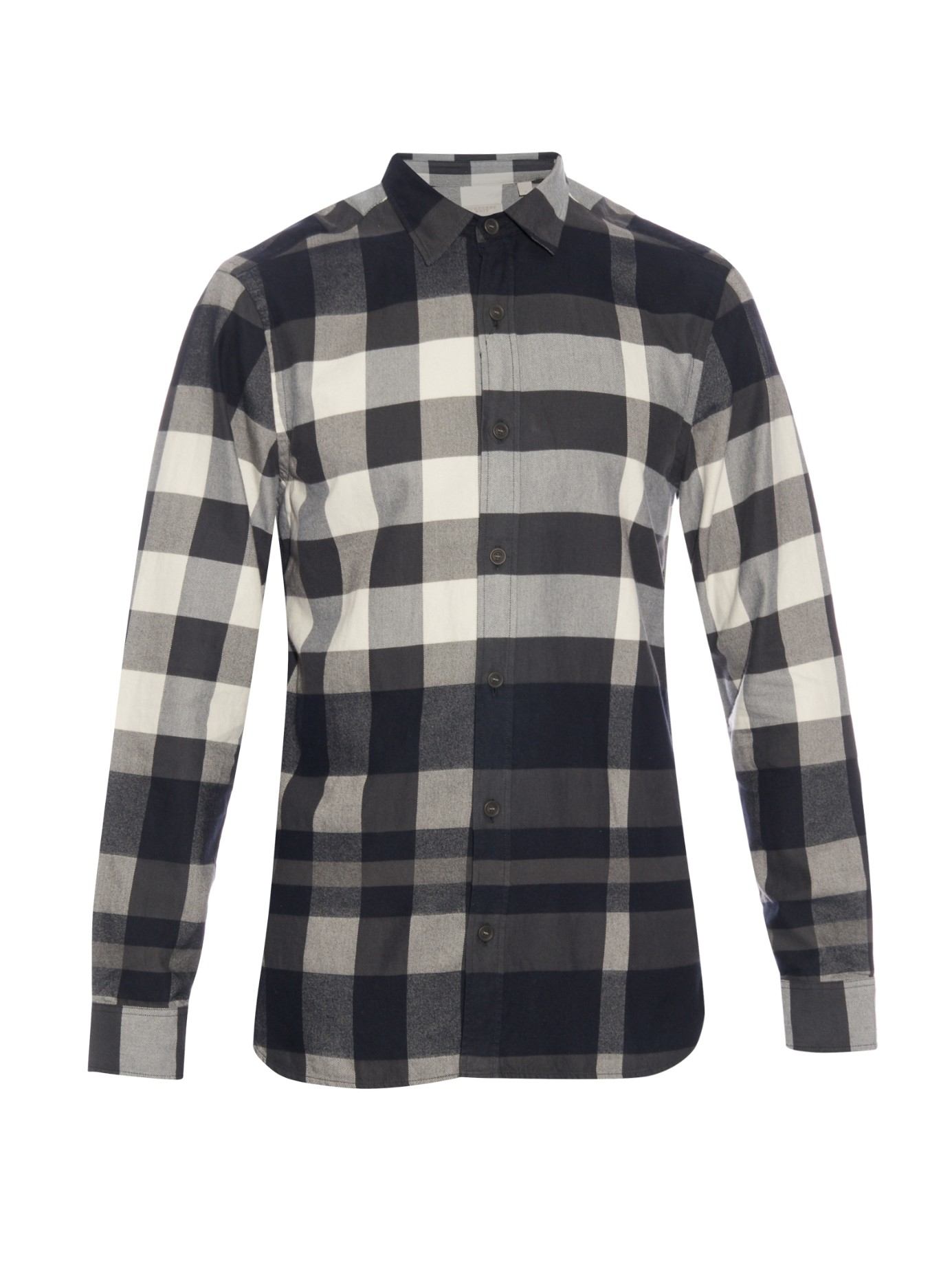 Lyst burberry brit large check sport shirt in gray for men for Burberry brit checked shirt