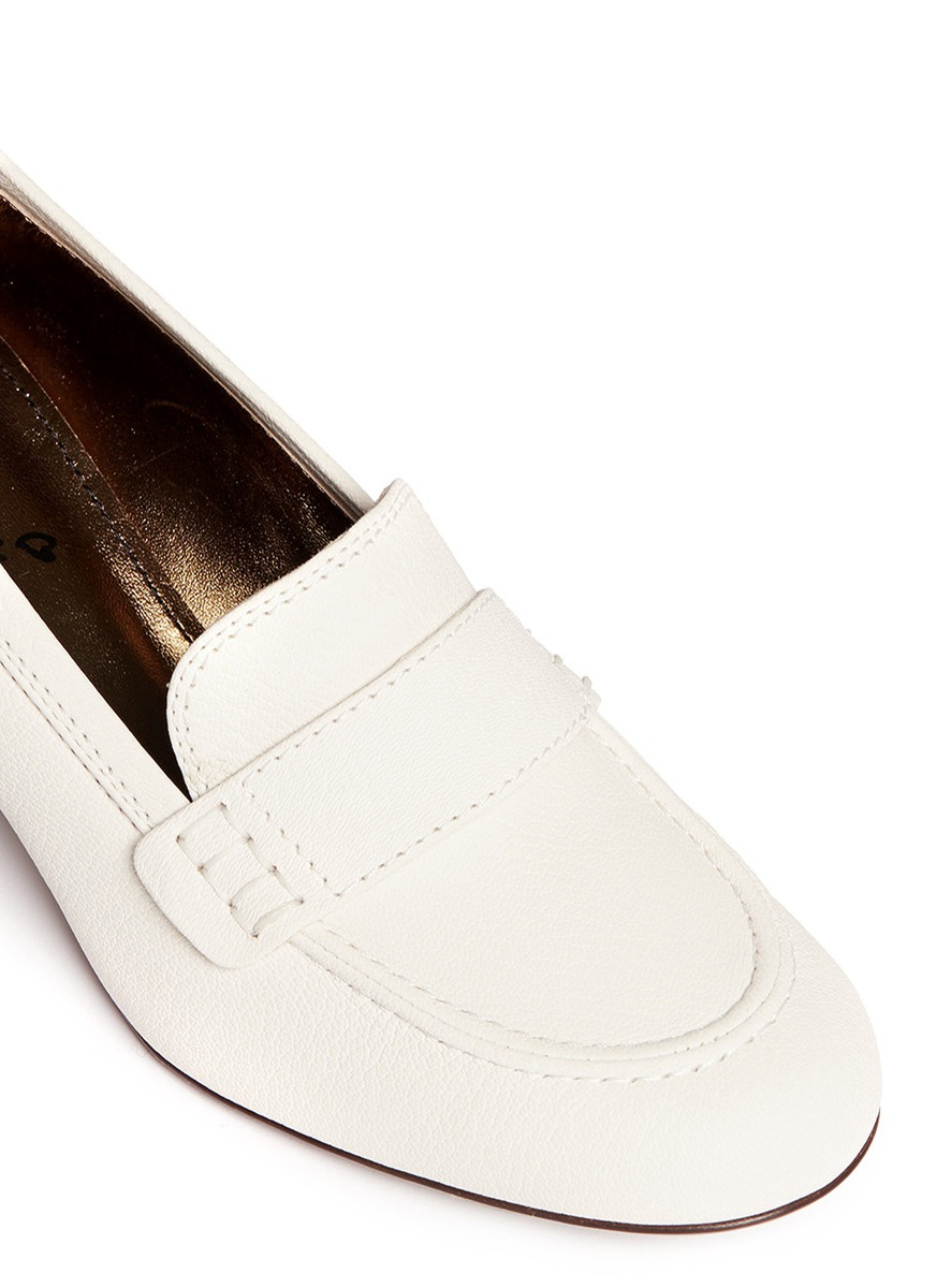 3482a597e37 Lyst - Lanvin Block Heel Leather Loafers in White