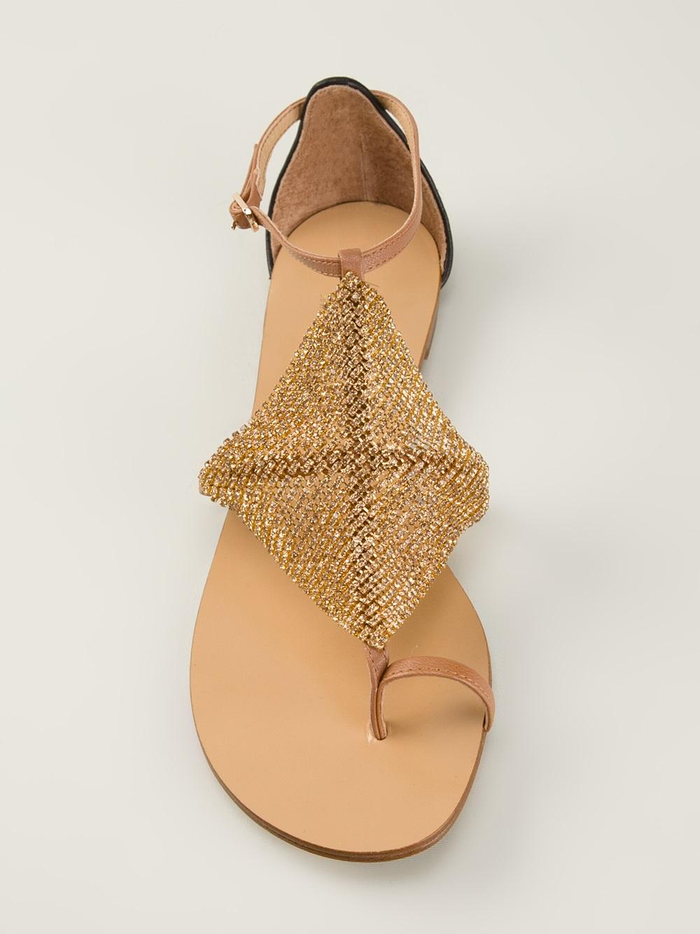 Lyst Lola Cruz Metallic Sandal In Metallic
