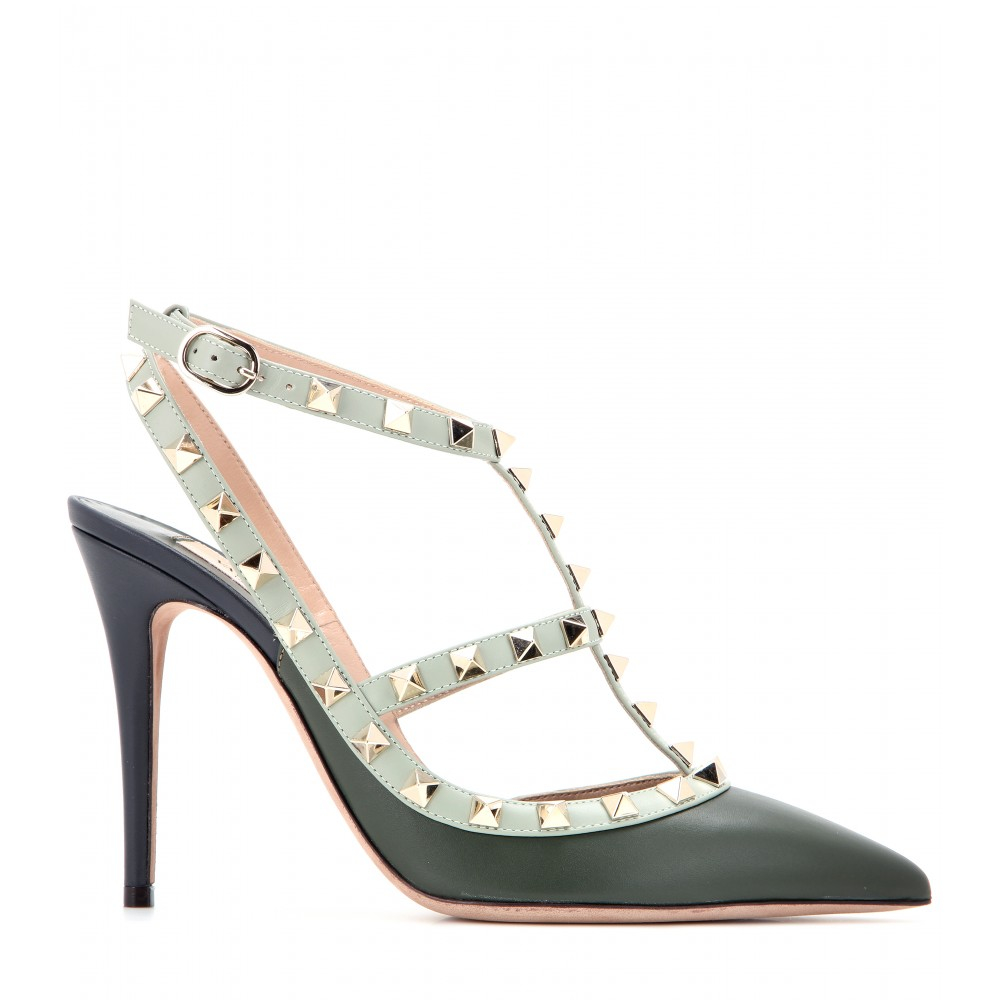 lyst valentino rockstud leather pumps in gray. Black Bedroom Furniture Sets. Home Design Ideas