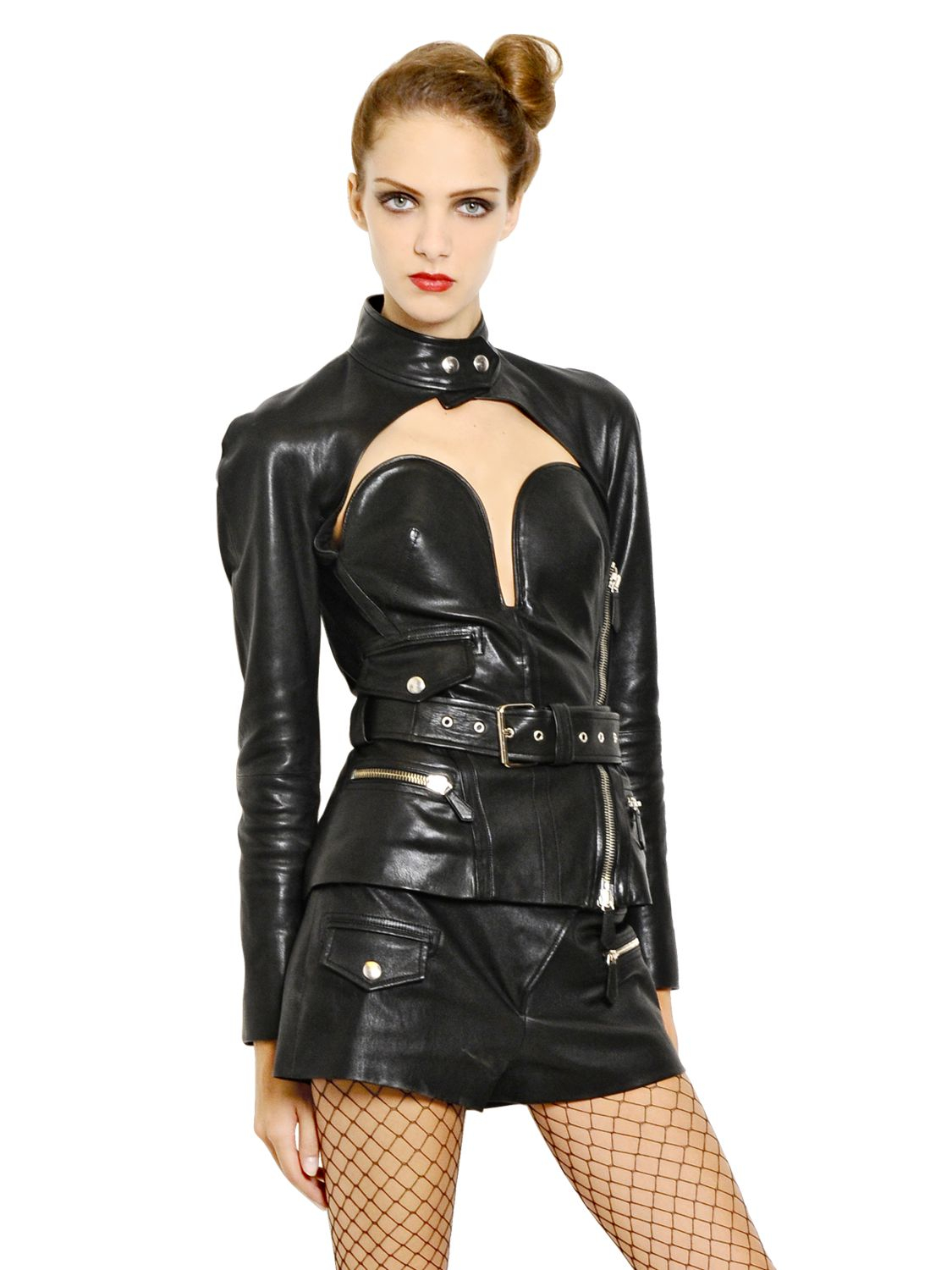 Lyst Jean Paul Gaultier Nappa Leather Bustier Jacket In