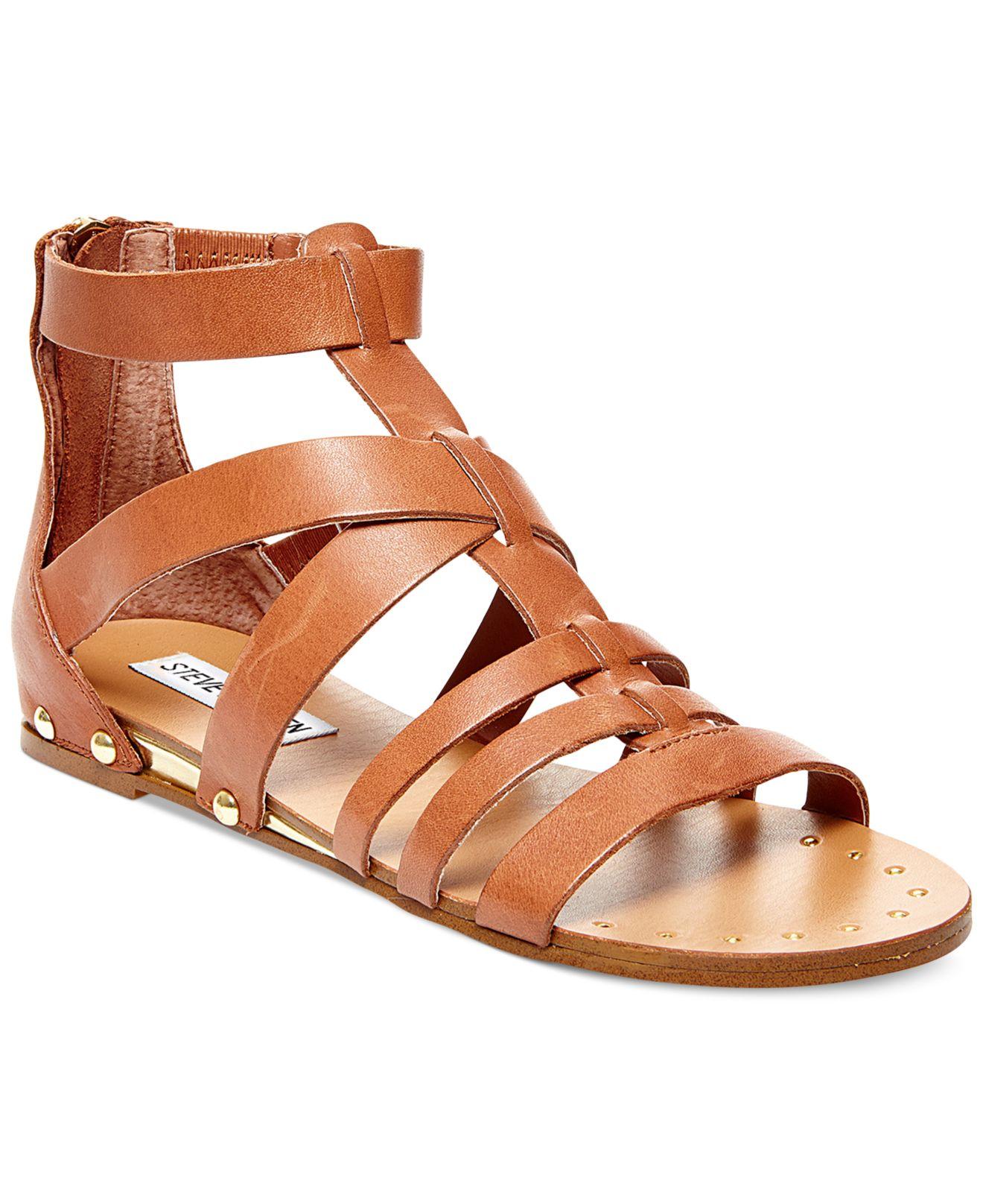 Steve Madden Drastik Leather Gladiator Sandals In Brown Lyst