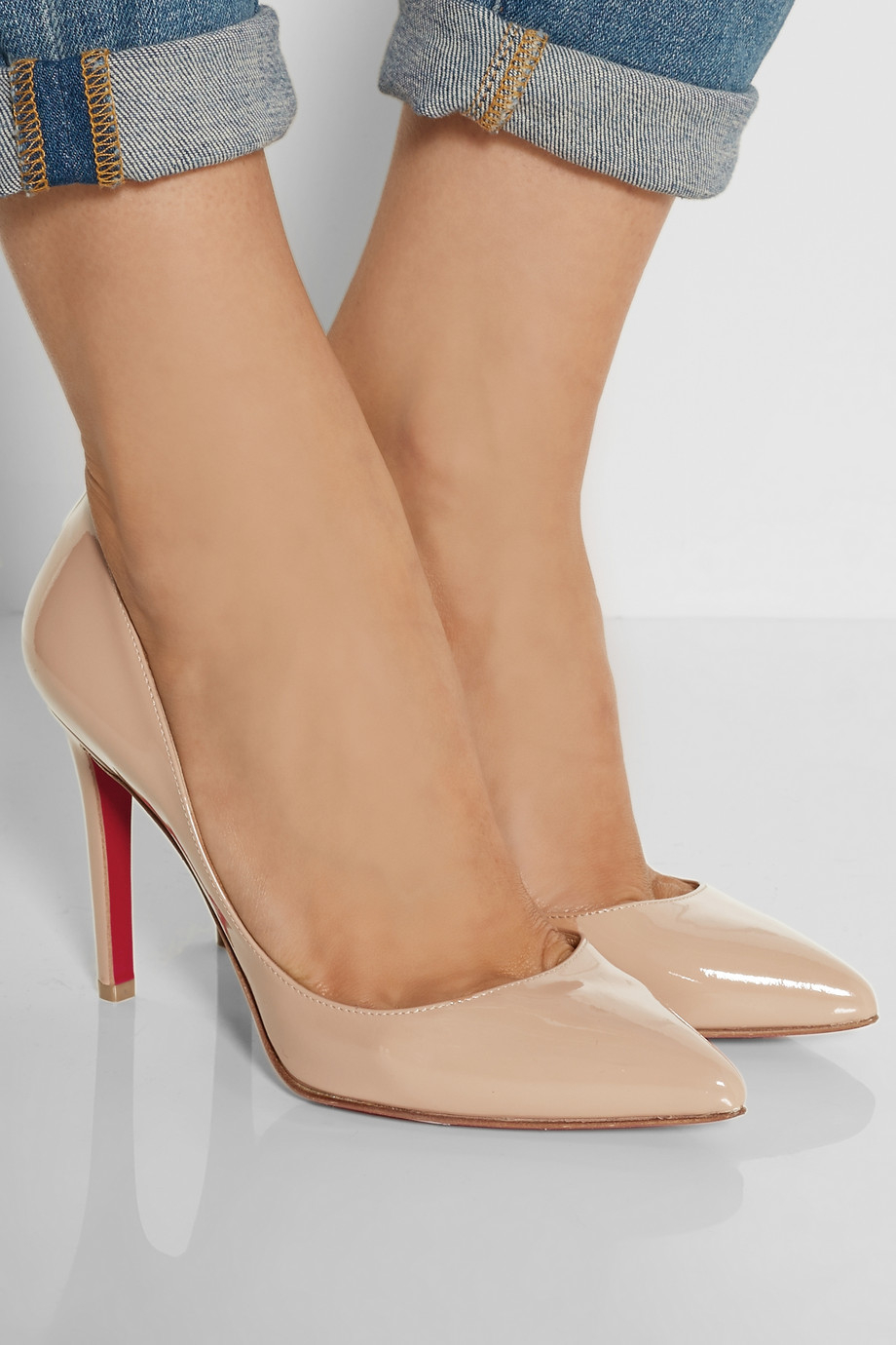 507b8cf8a1 Christian Louboutin The Pigalle 100 Patent-Leather Pumps in Natural - Lyst