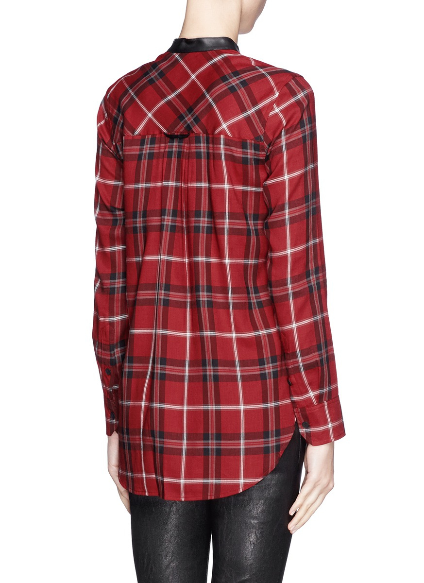 Vince leather trim plaid shirt in red lyst for Red leather shirt for womens