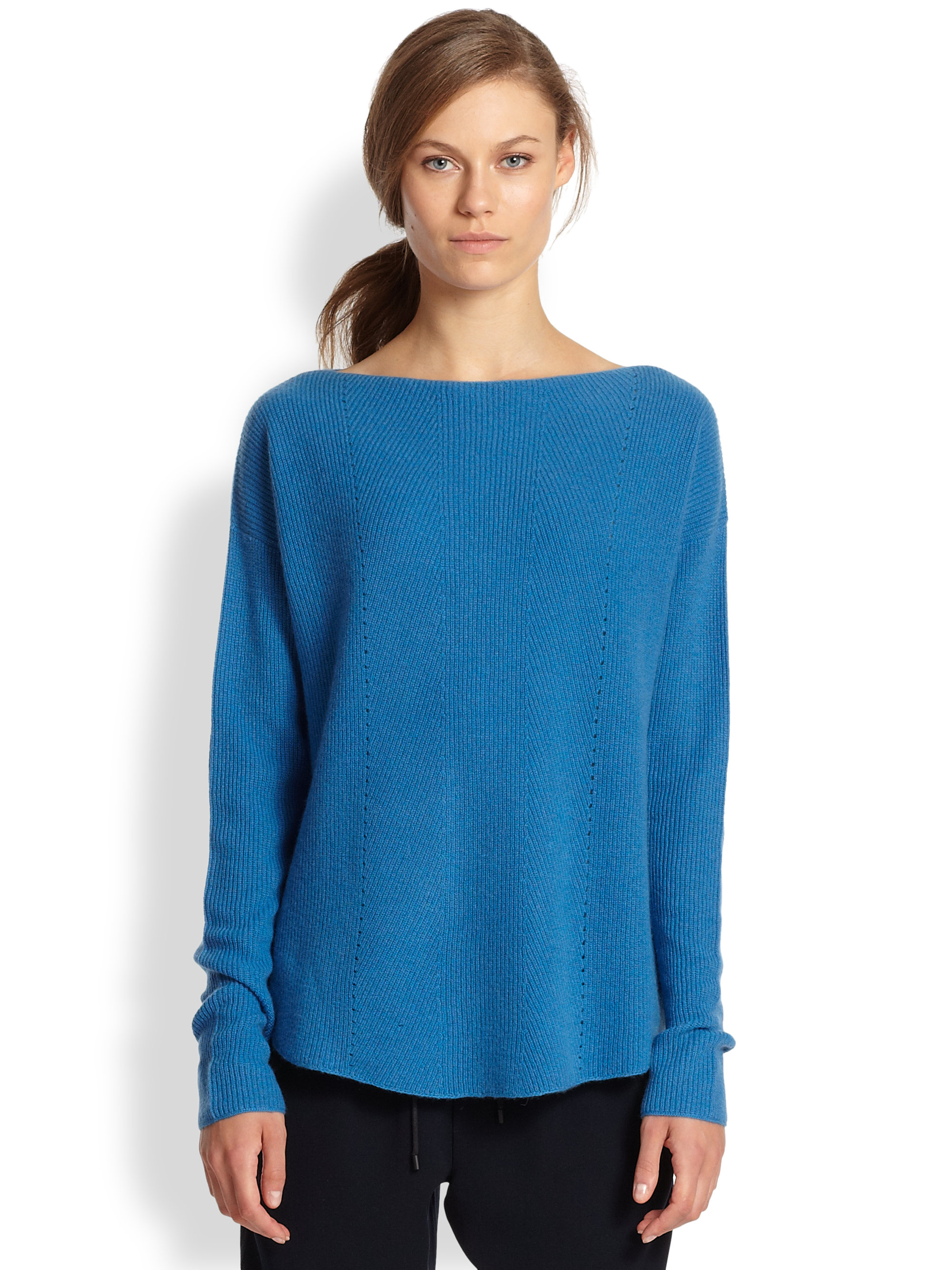 Vince Ribbed Cashmere Relaxed Boatneck Sweater in Blue | Lyst