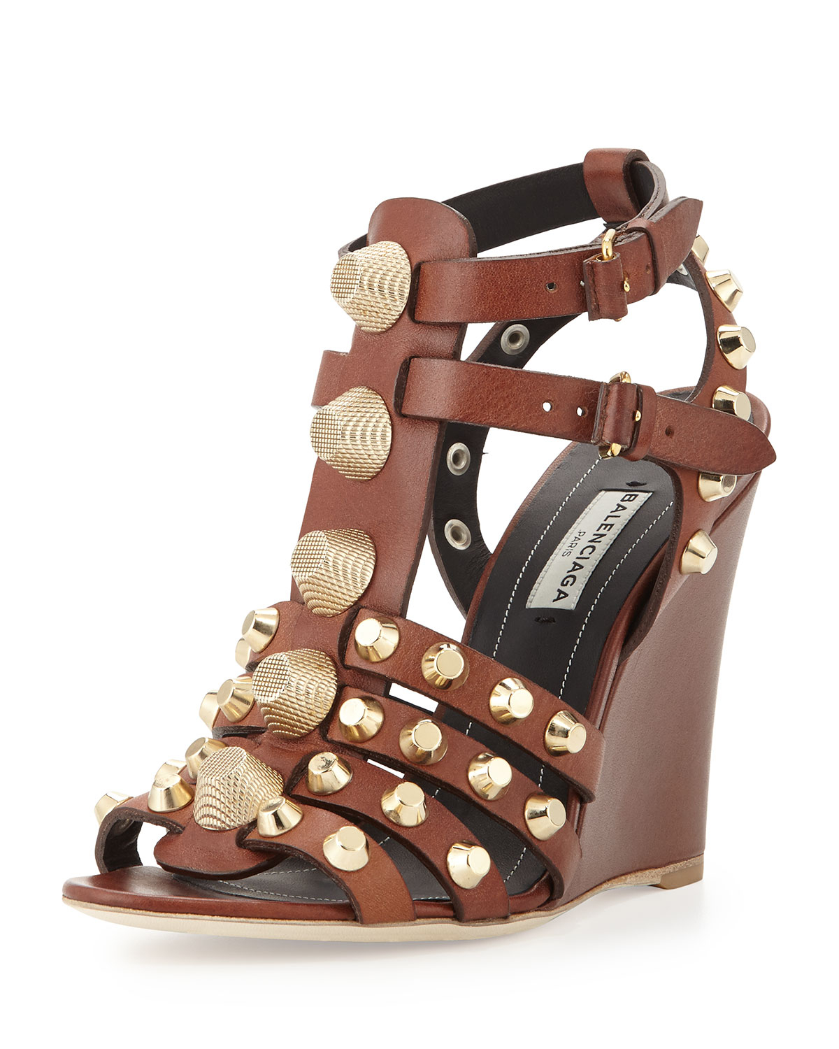 Lyst Balenciaga Studded T Strap Wedge Sandal In Brown