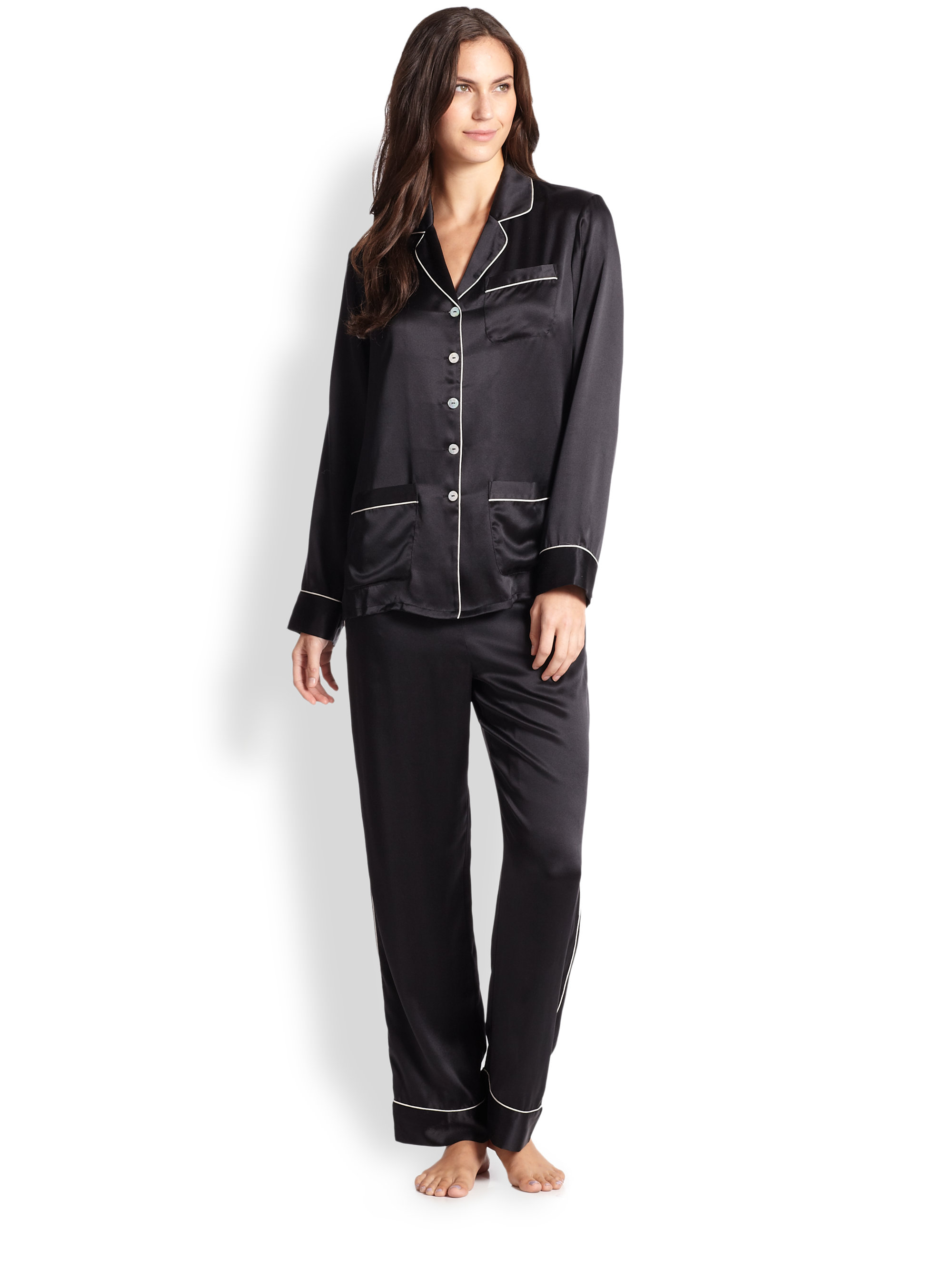 Black Silk Pajamas: Olivia Von Halle Silk Satin Pajamas In Black