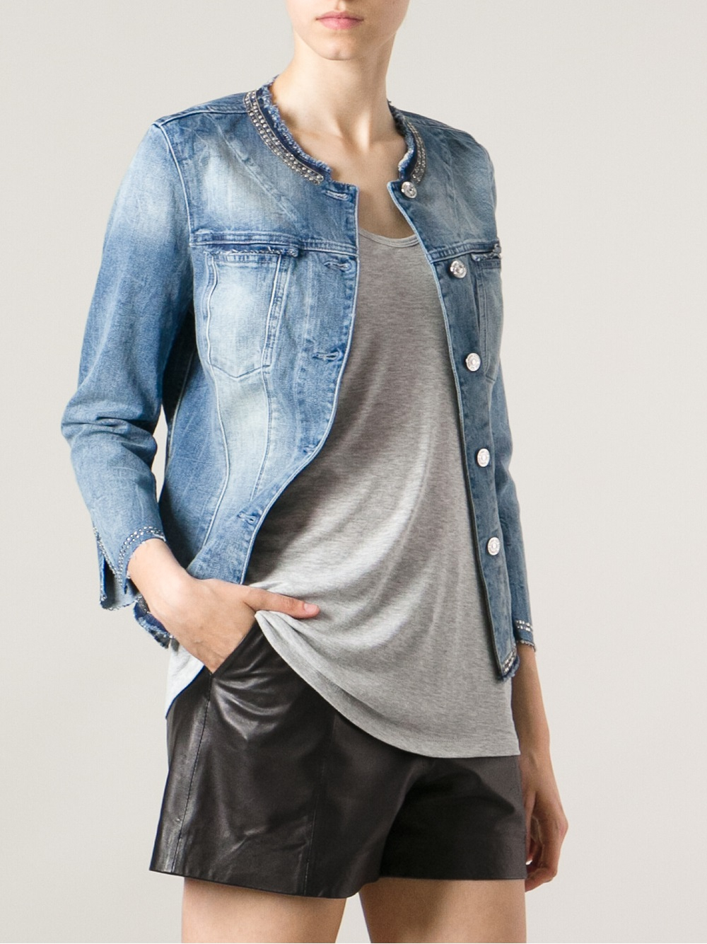 Gallery. Previously sold at: FarFetch · Women's Collarless Jackets - 7 For All Mankind Studded Collarless Denim Jacket In Blue Lyst