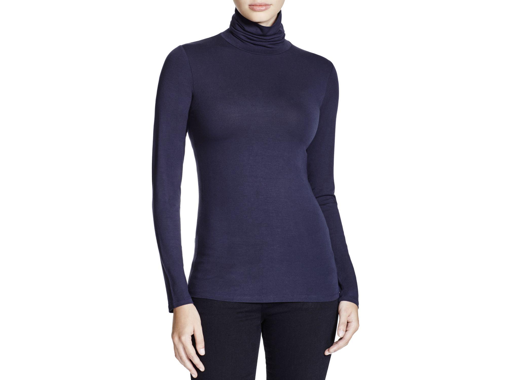 Lyst majestic long sleeve turtleneck shirt in blue for Long sleeve black turtleneck shirt