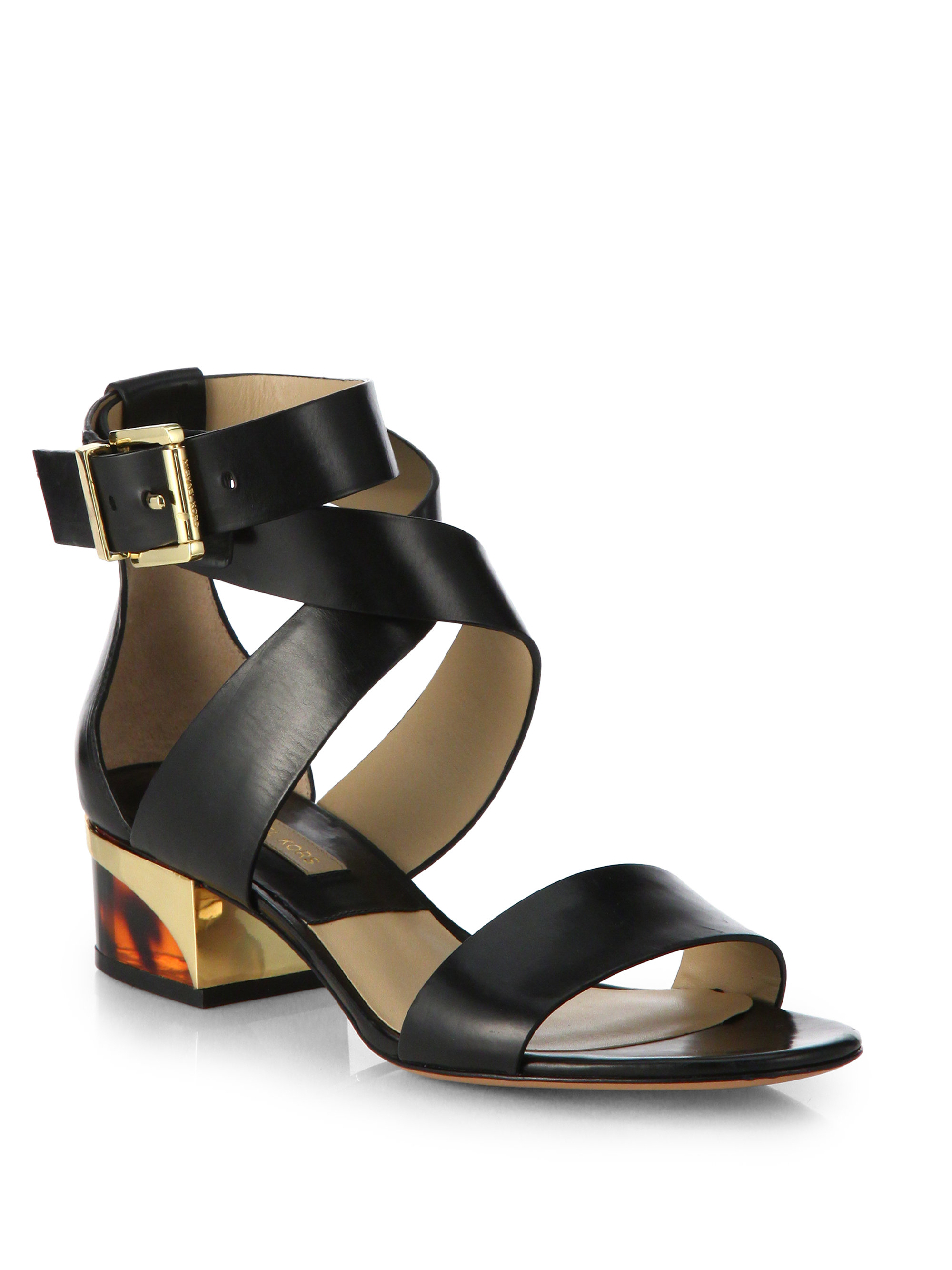 Michael Kors Tulia Leather Sandals in Black | Lyst