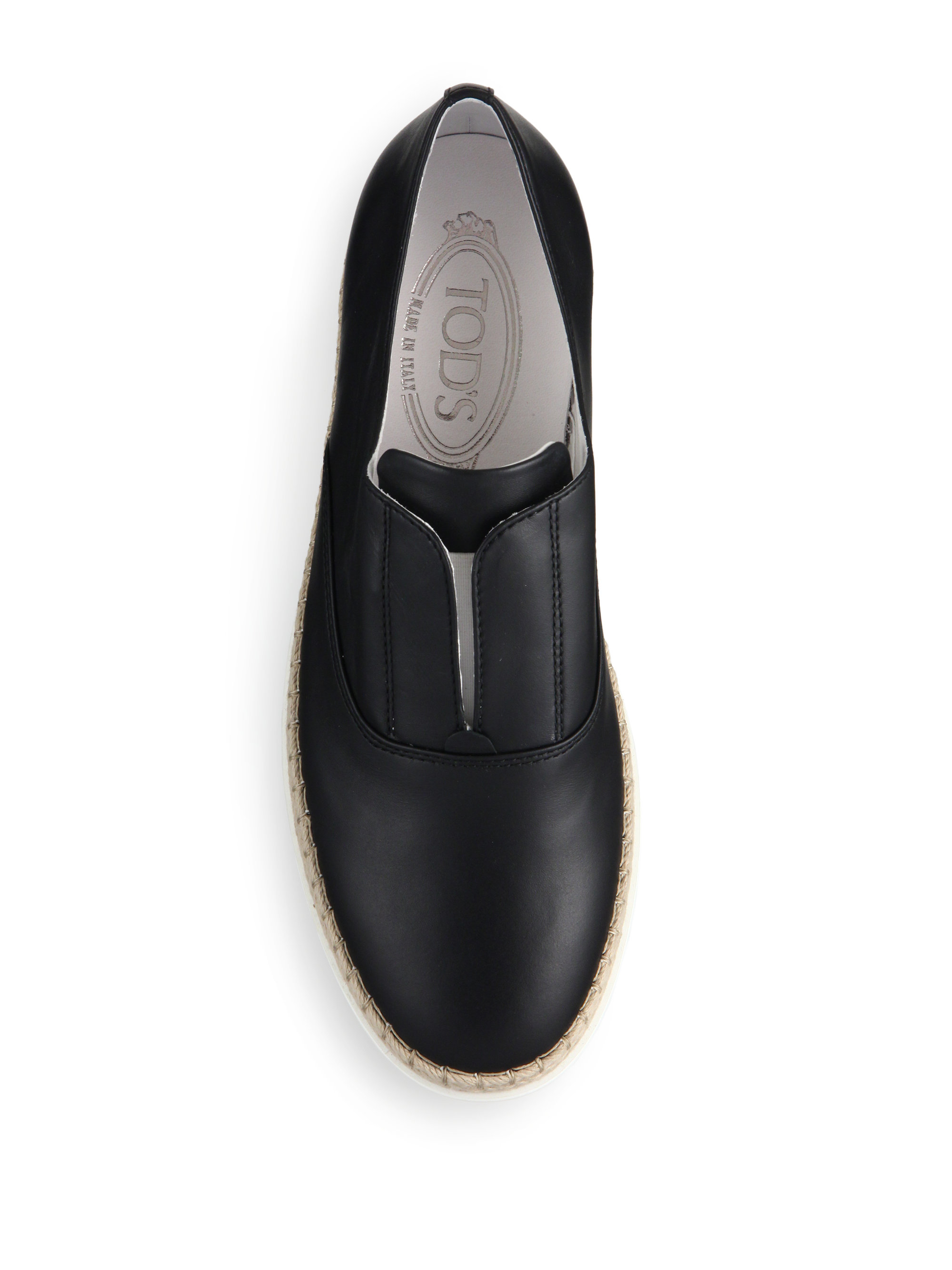 Tod S Laceless Leather Espadrille Sneakers In Black For