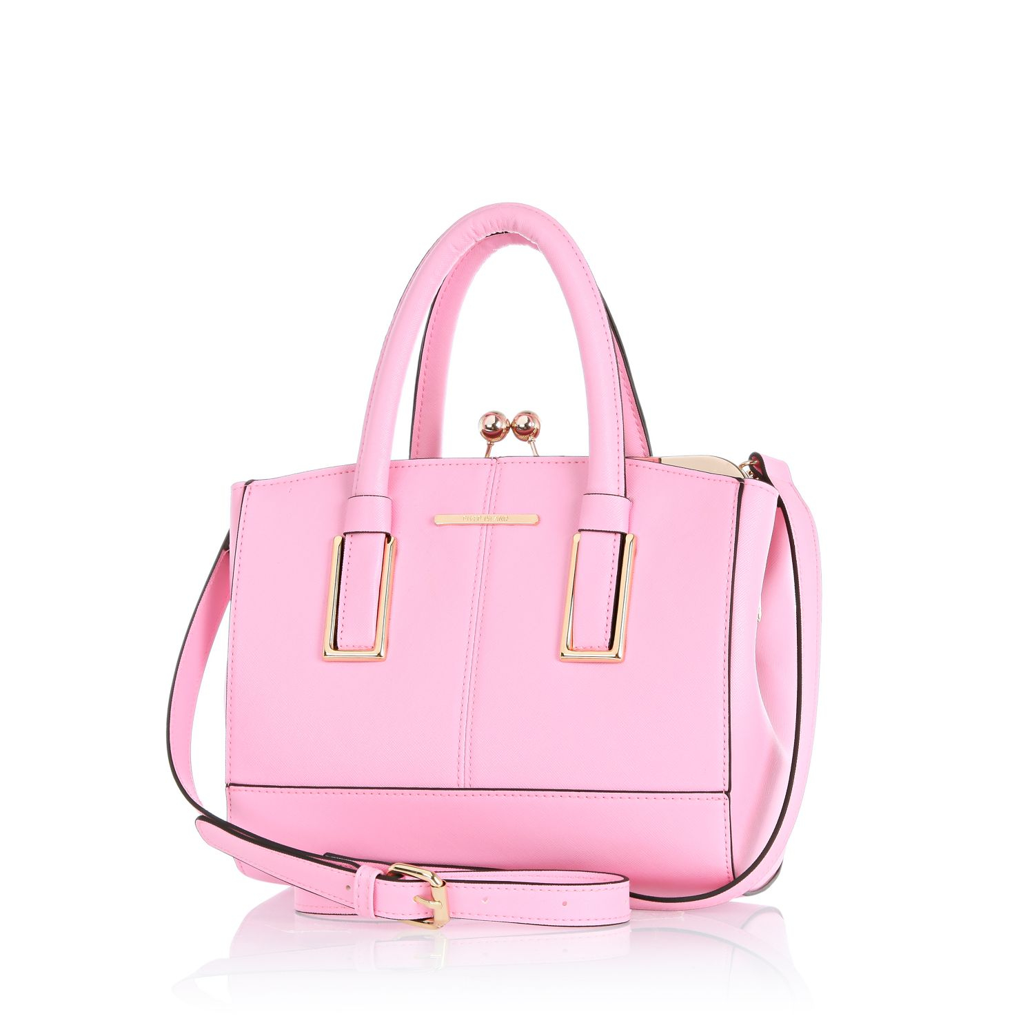 river island light pink mini structured tote bag in pink lyst. Black Bedroom Furniture Sets. Home Design Ideas