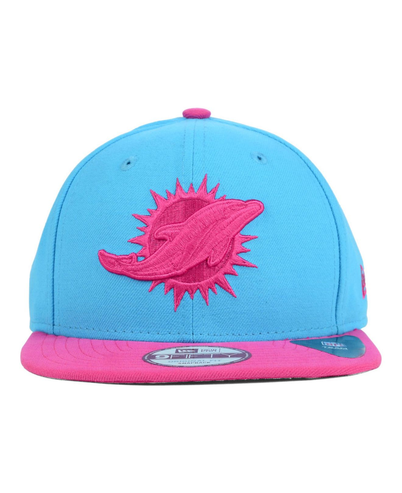 1981a9f388fdff ... spain lyst ktz miami dolphins original fit 9fifty snapback cap in pink  8bd81 14a93