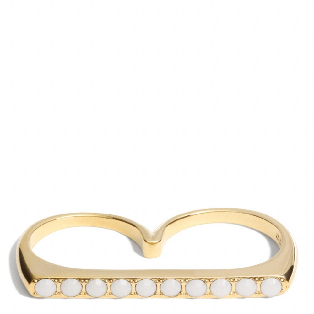 coach finger cupchain ring in gold gold white lyst