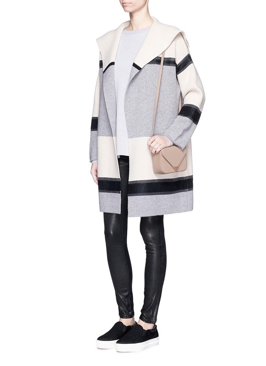 Vince Colourblock Foil Print Wool-cashmere Car Coat | Lyst