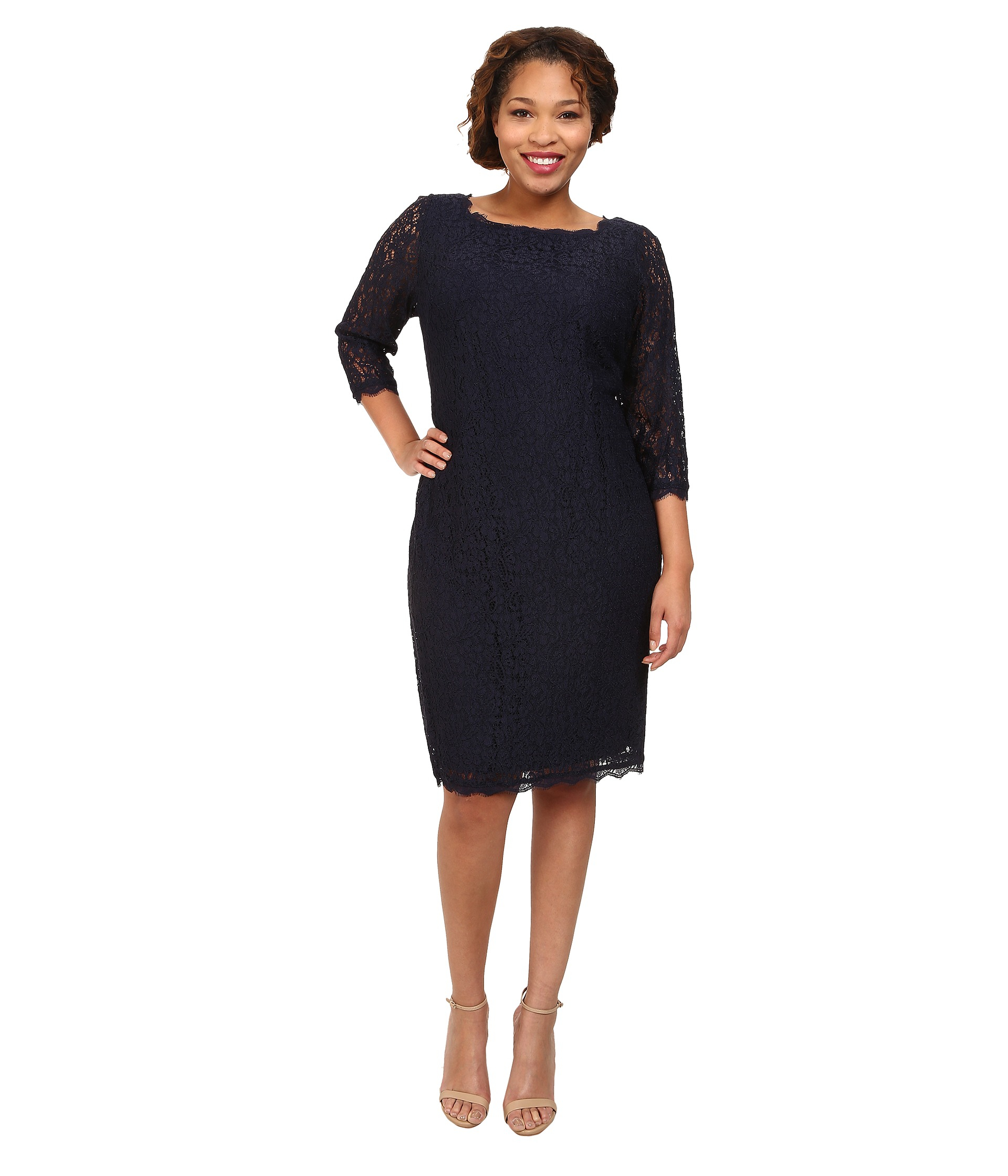 Quarter Sleeve Black Dresses Adrianna Papell