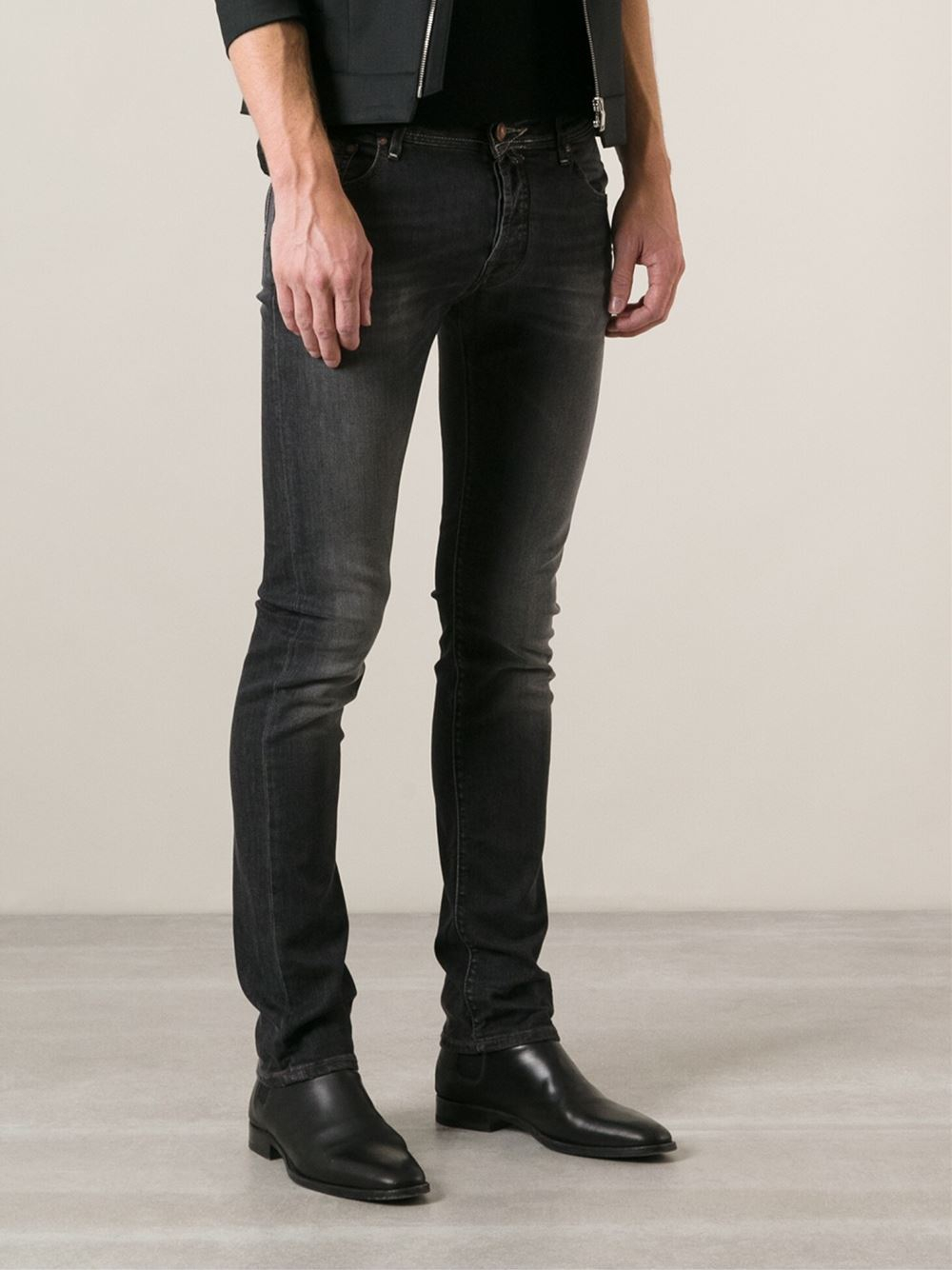 Lyst Jacob Cohen Stone Washed Jeans In Gray For Men