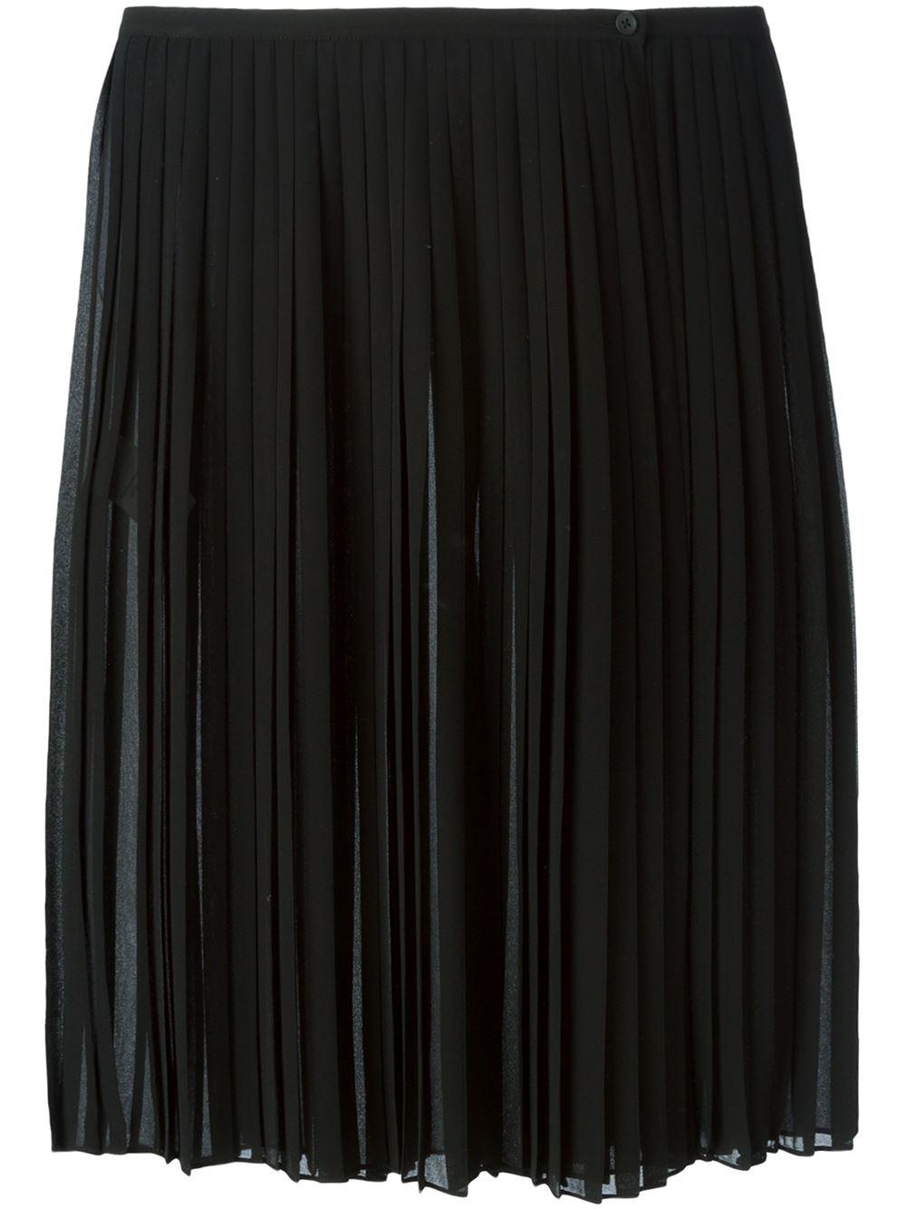 dkny black sheer pleated skirt lyst