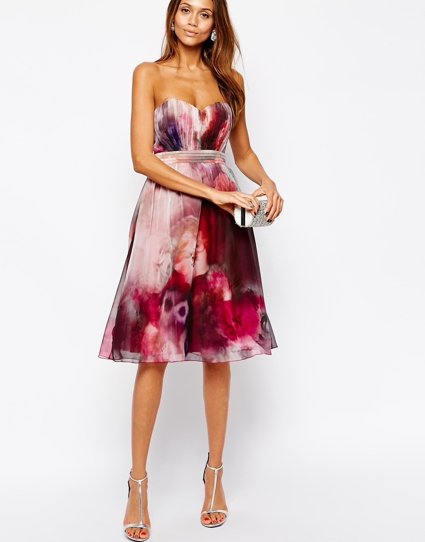 Little mistress bandeau midi prom dress in blurred floral for Red midi dress wedding guest