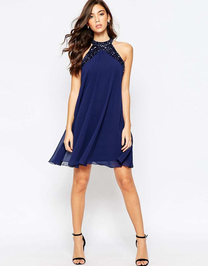 Lipsy Embellished High Neck Babydoll Swing Dress Navy In