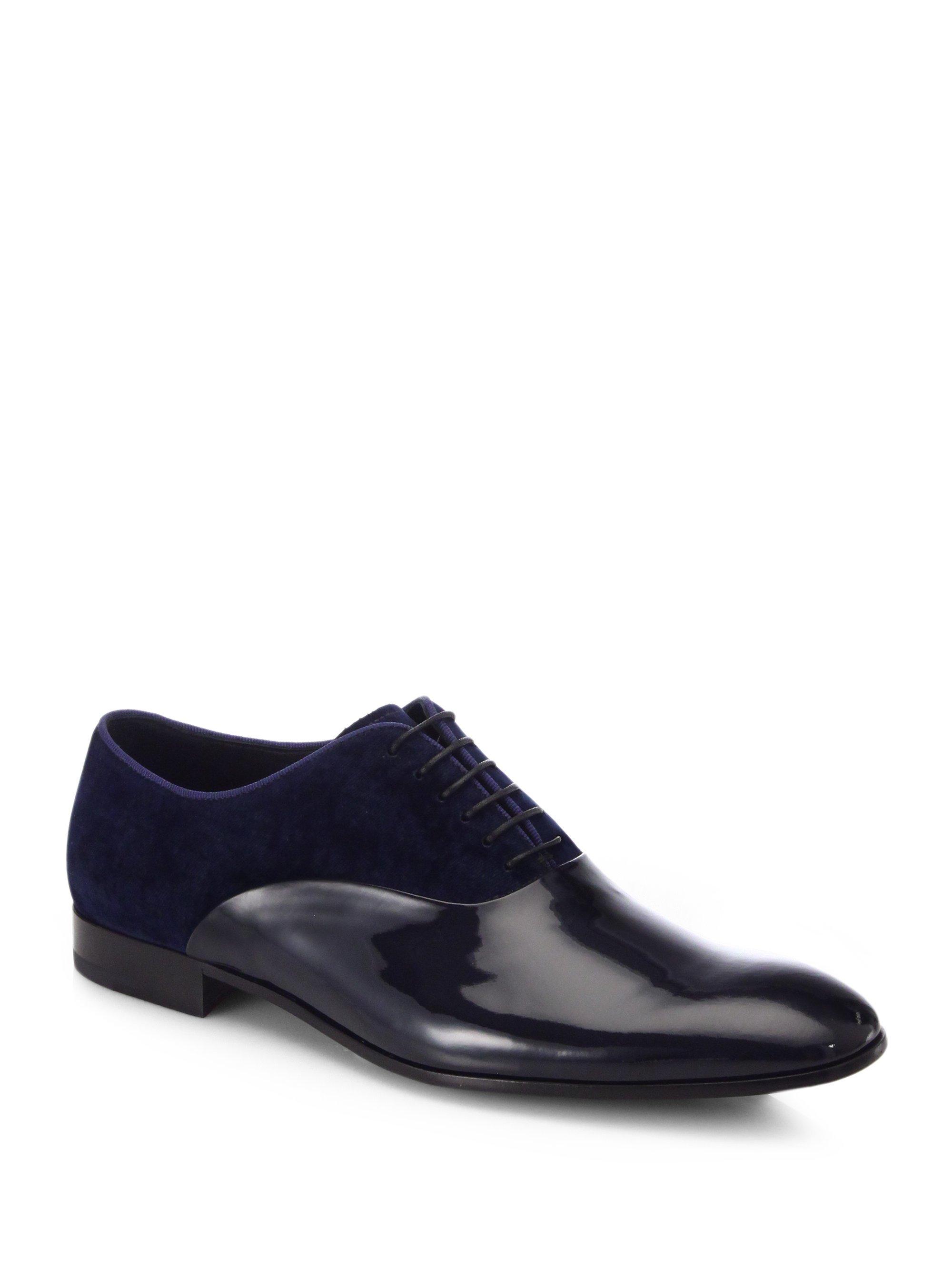 Giorgio Armani Patent Leather U0026 Velvet Oxfords In Blue For ...