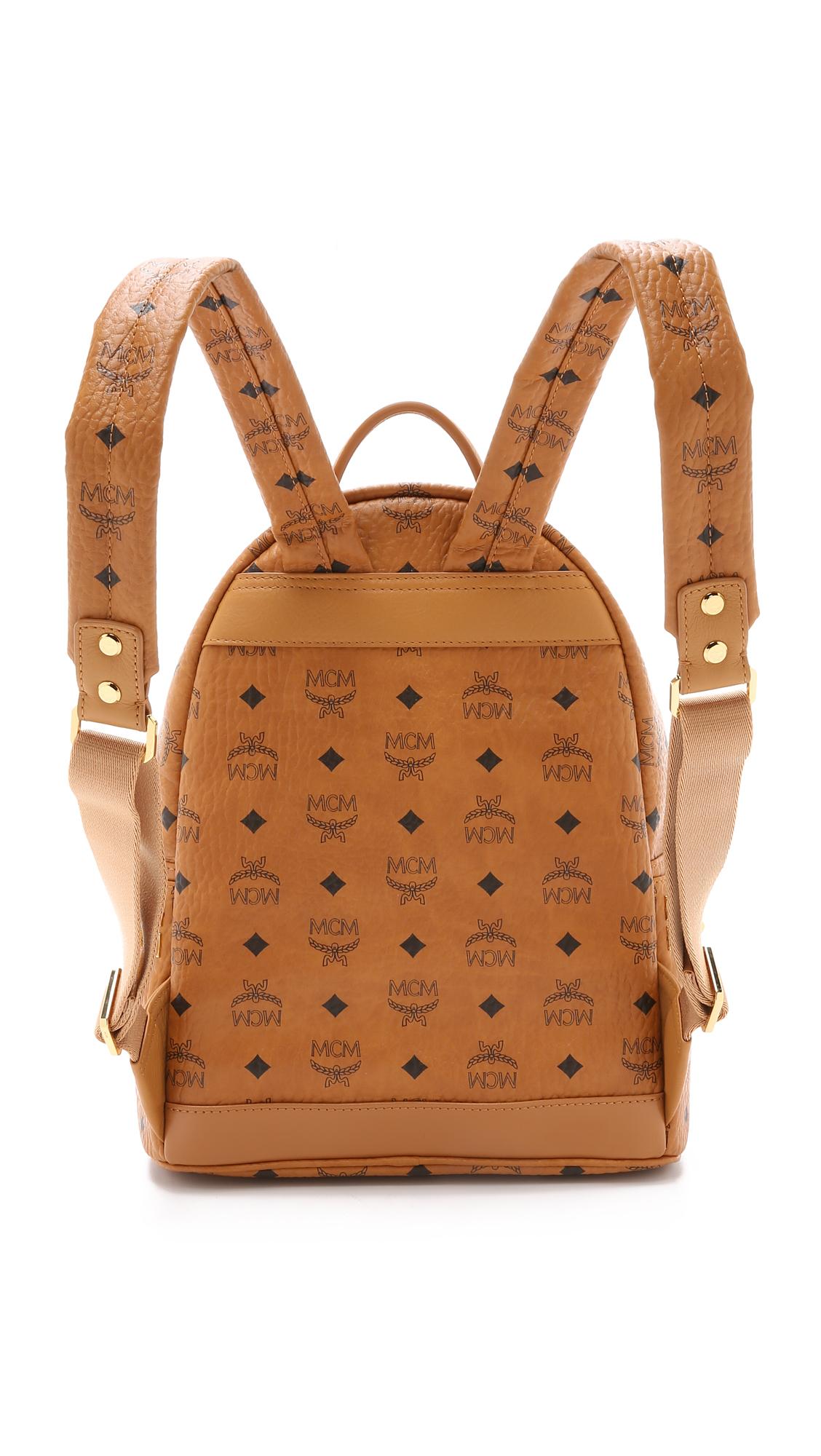 mcm side stud small stark backpack cognac in brown lyst. Black Bedroom Furniture Sets. Home Design Ideas