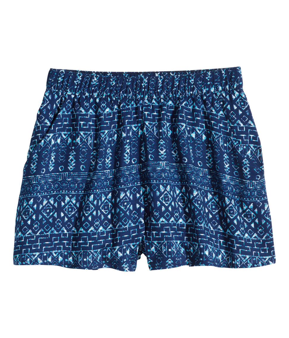 H&m Patterned Shorts in Blue | Lyst