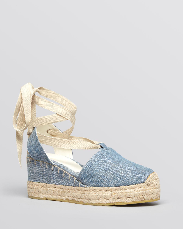 Ralph Lauren Platform Wedge Espadrille Sandals Uma In Blue