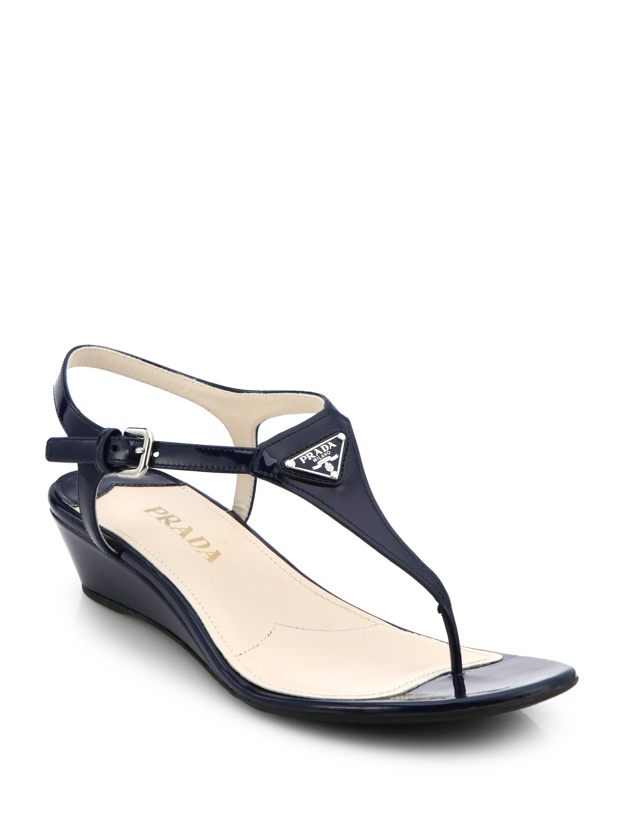 Lyst Prada Patent Leather Wedge Thong Sandals In Blue