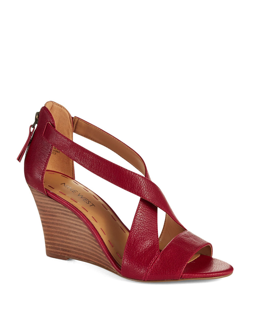 decaef069ad Nine West Fichel Strappy Wedge Sandals in Natural - Lyst
