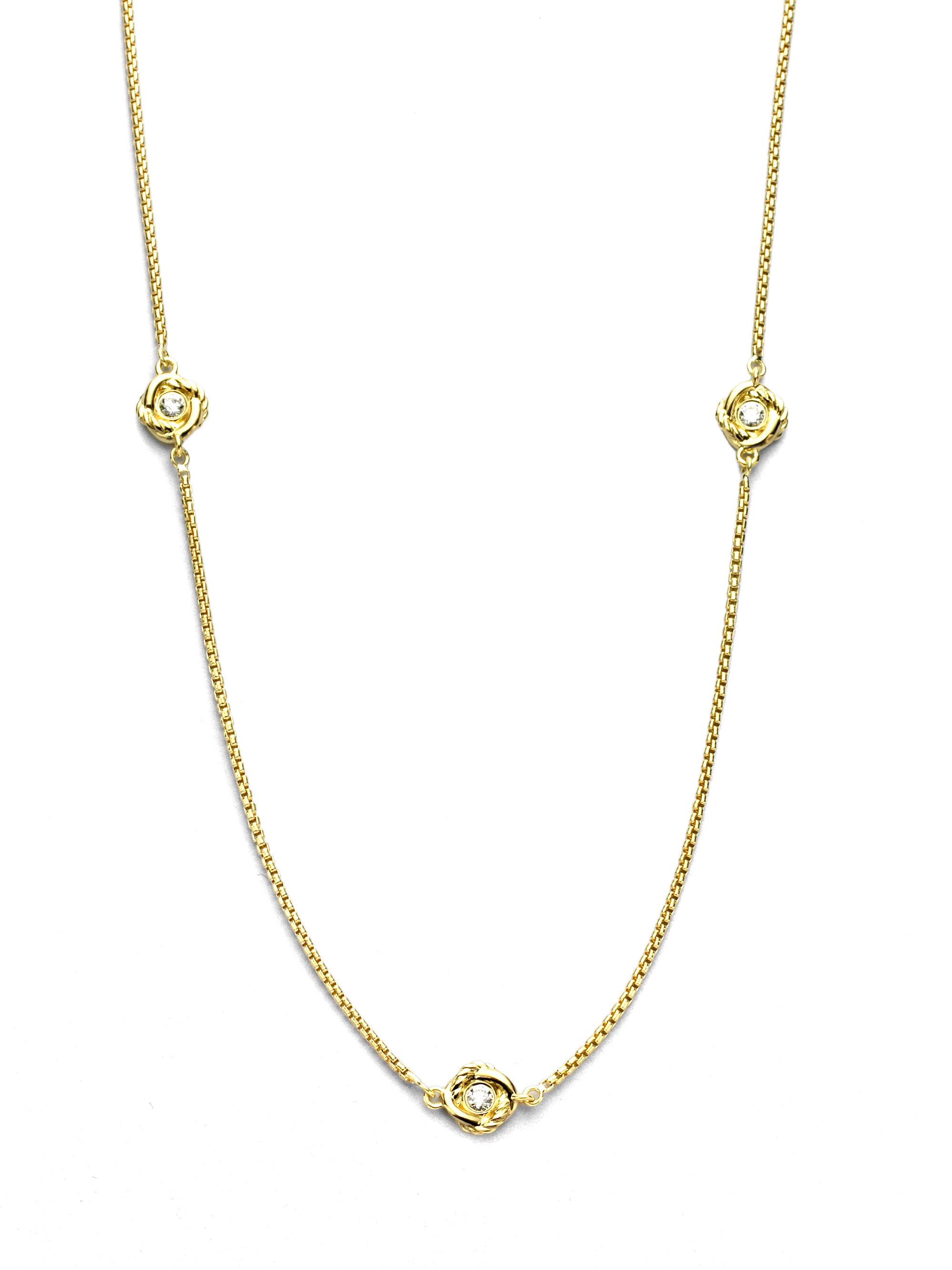 David Yurman Diamond 18k Yellow Gold Chain Necklace In