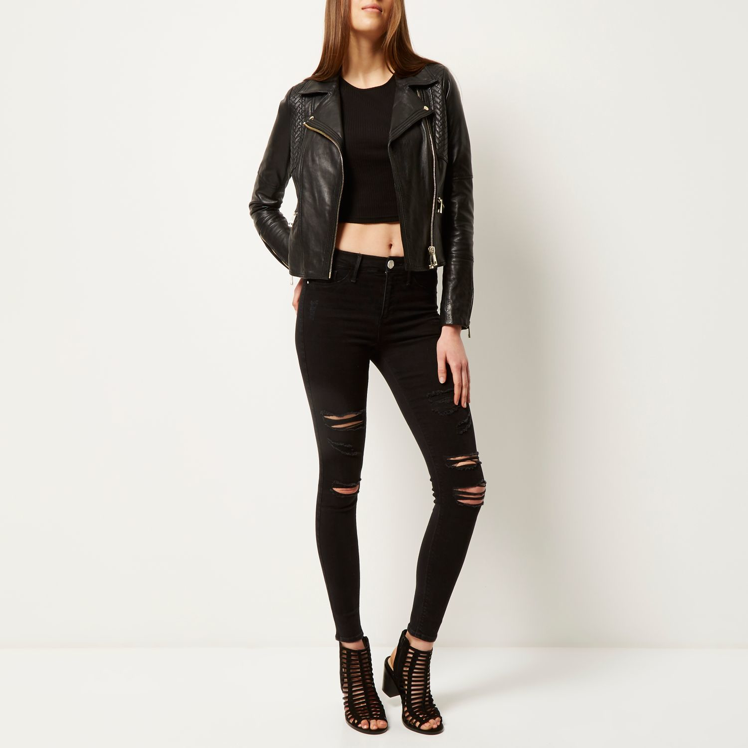 368ffe90b0319 River Island Black Super Ripped Molly Jeggings in Black - Lyst